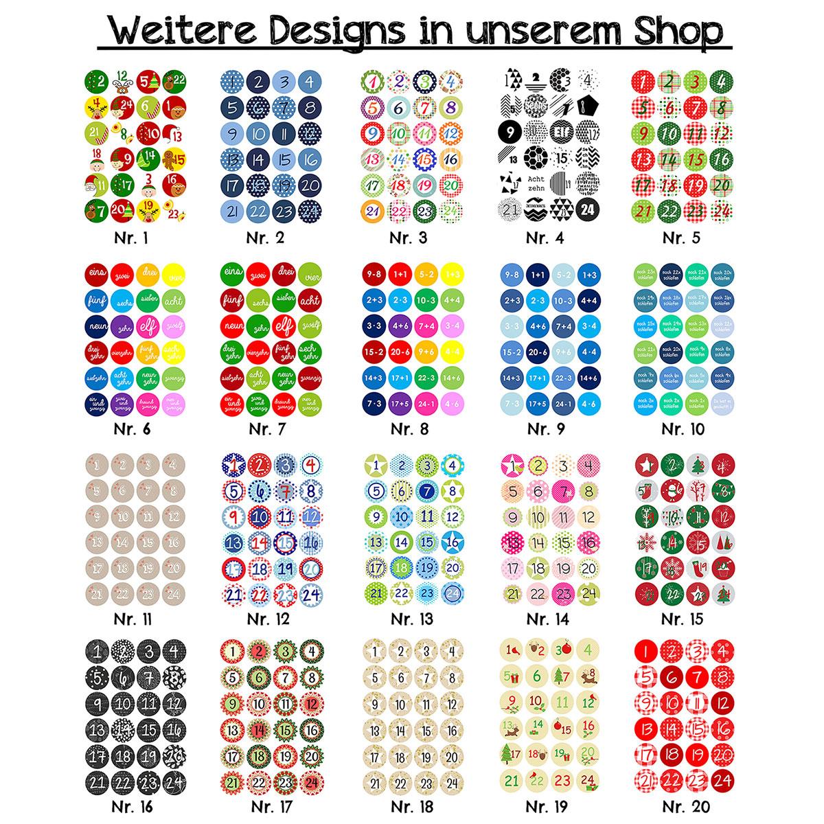 24 Adventskalender Zahlenaufkleber Design Nr 09