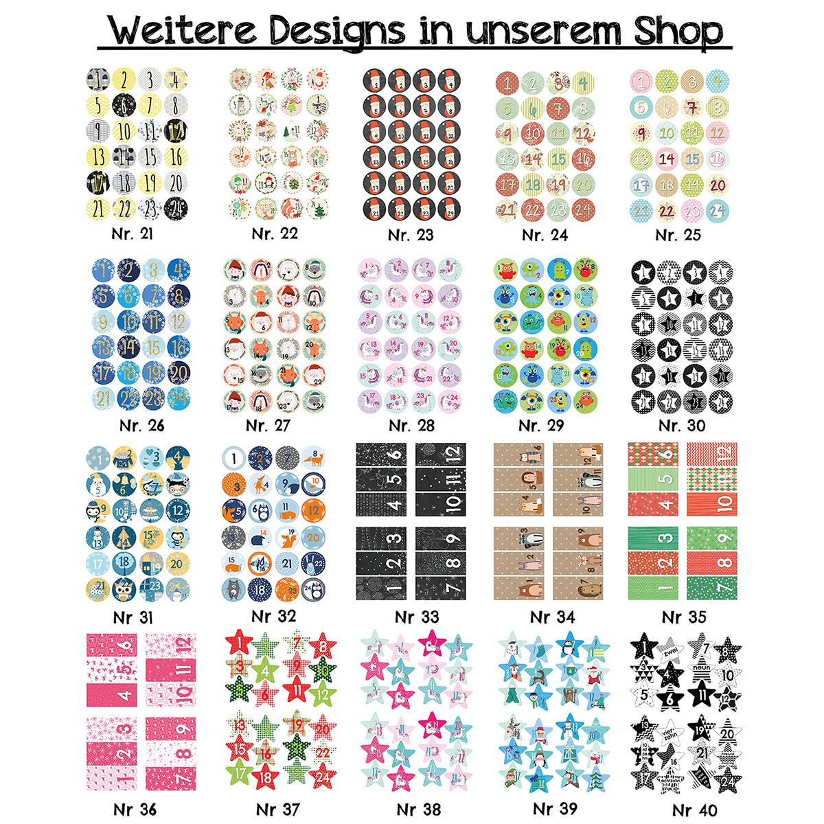 24 Adventskalender Zahlenaufkleber Design Nr 06