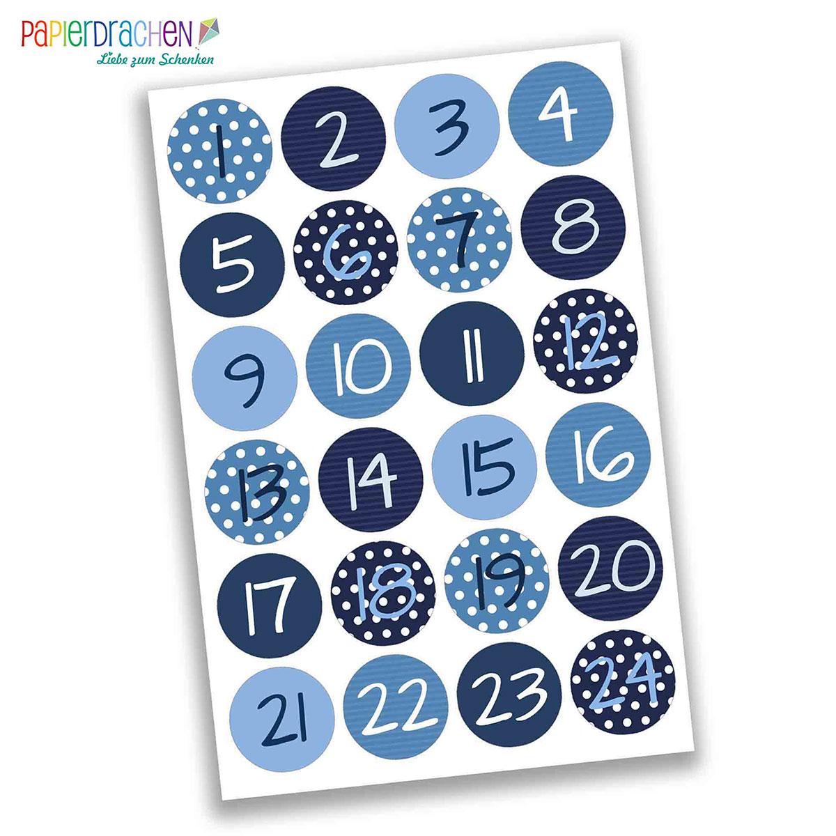 24 adventskalender zahlen aufkleber blaue zahlen nr 02 sticker 4 cm zum basteln und. Black Bedroom Furniture Sets. Home Design Ideas