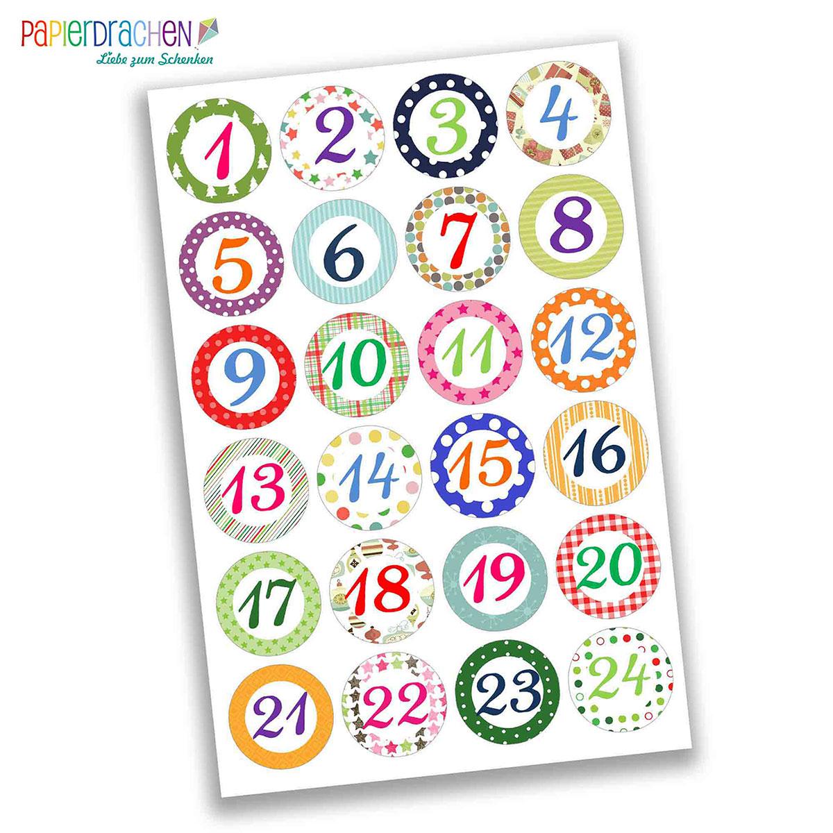 24 Adventskalender Zahlenaufkleber Design Nr 03