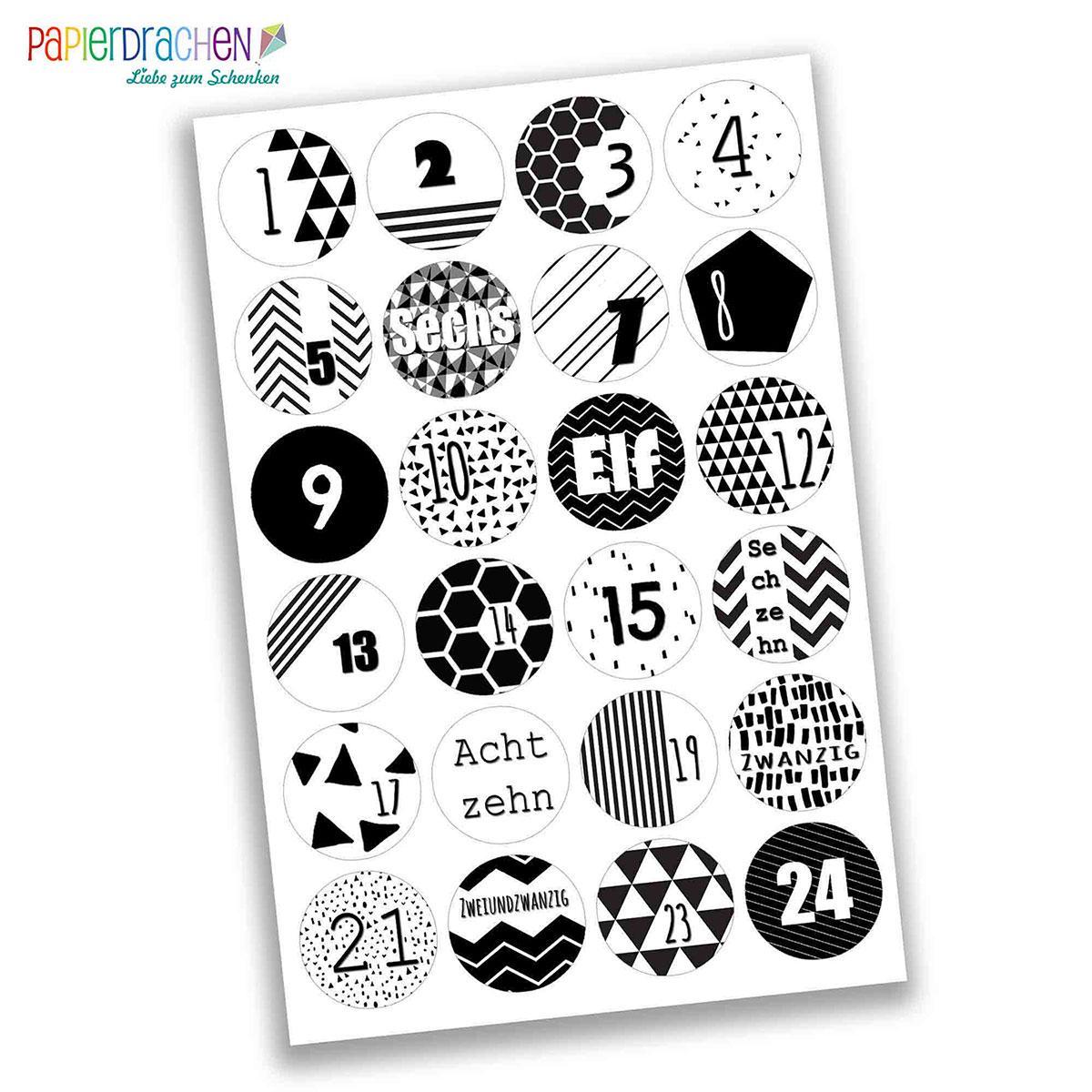 24 adventskalender zahlen aufkleber schwarz wei geometrisch nr 04 sticker 4 cm zum. Black Bedroom Furniture Sets. Home Design Ideas