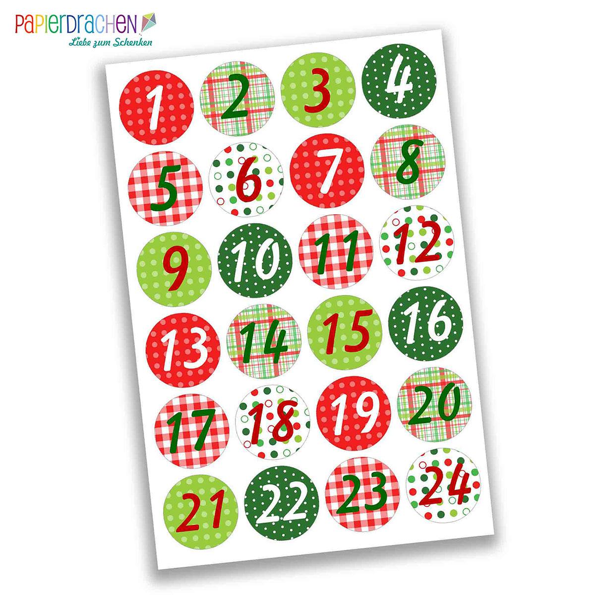 24 Adventskalender Zahlenaufkleber Design Nr 05