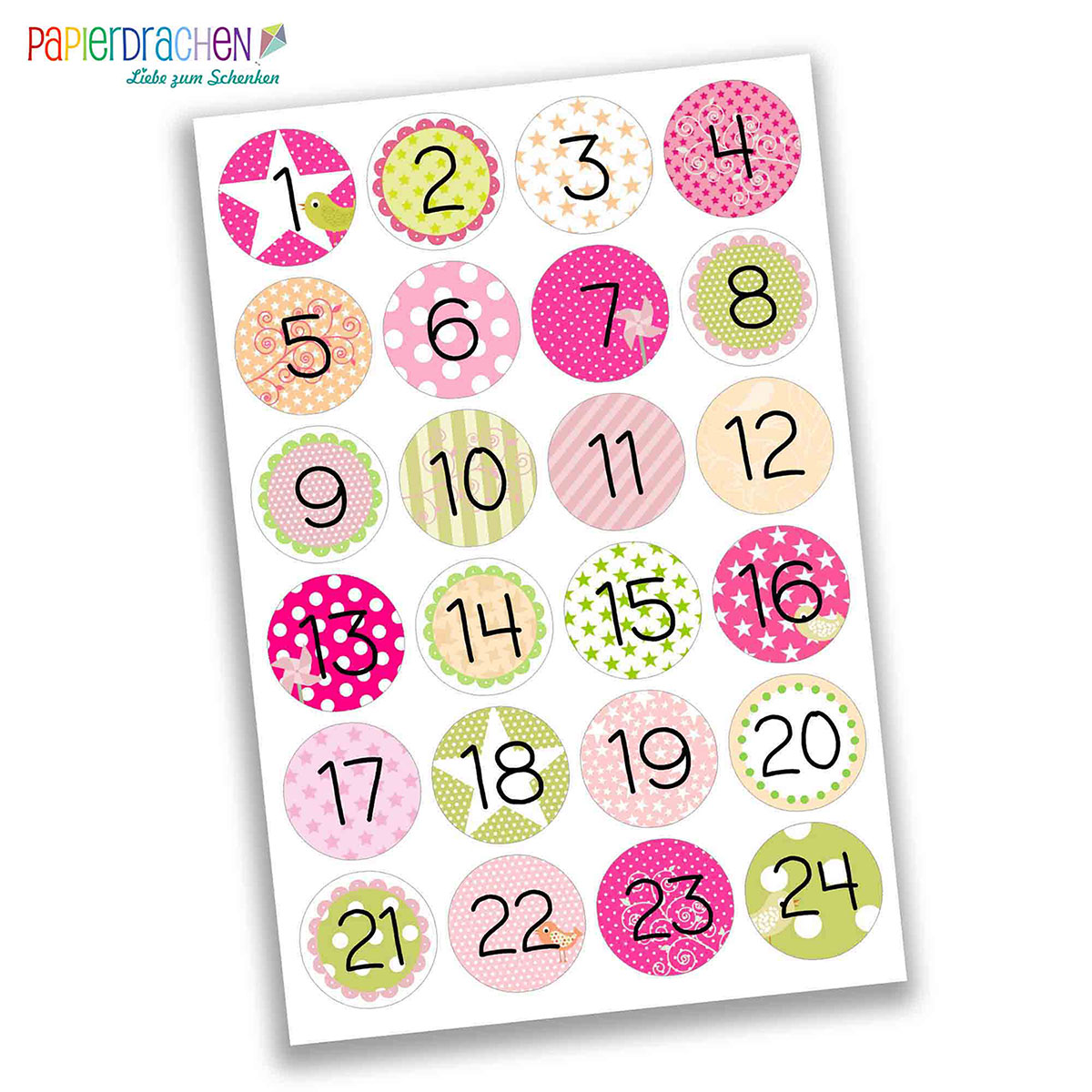 24 adventskalender zahlen aufkleber rosa gr n f r. Black Bedroom Furniture Sets. Home Design Ideas