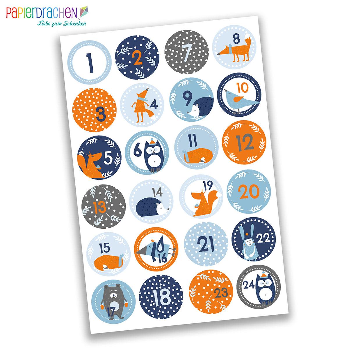 24 Adventskalender Zahlenaufkleber Design Nr 32
