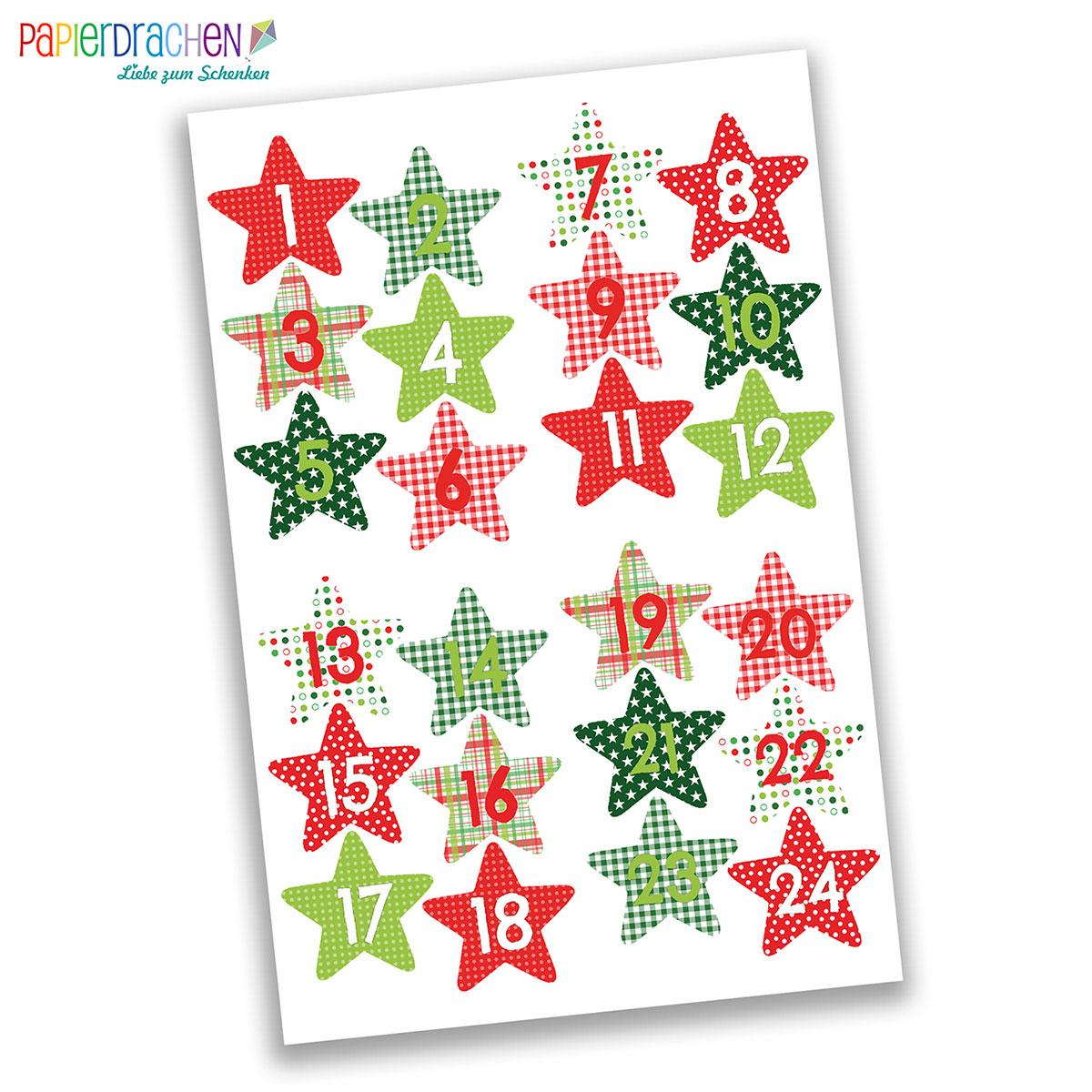 Details Zu Papierdrachen 24 Adventskalender Zahlenaufkleber Design Nr 37