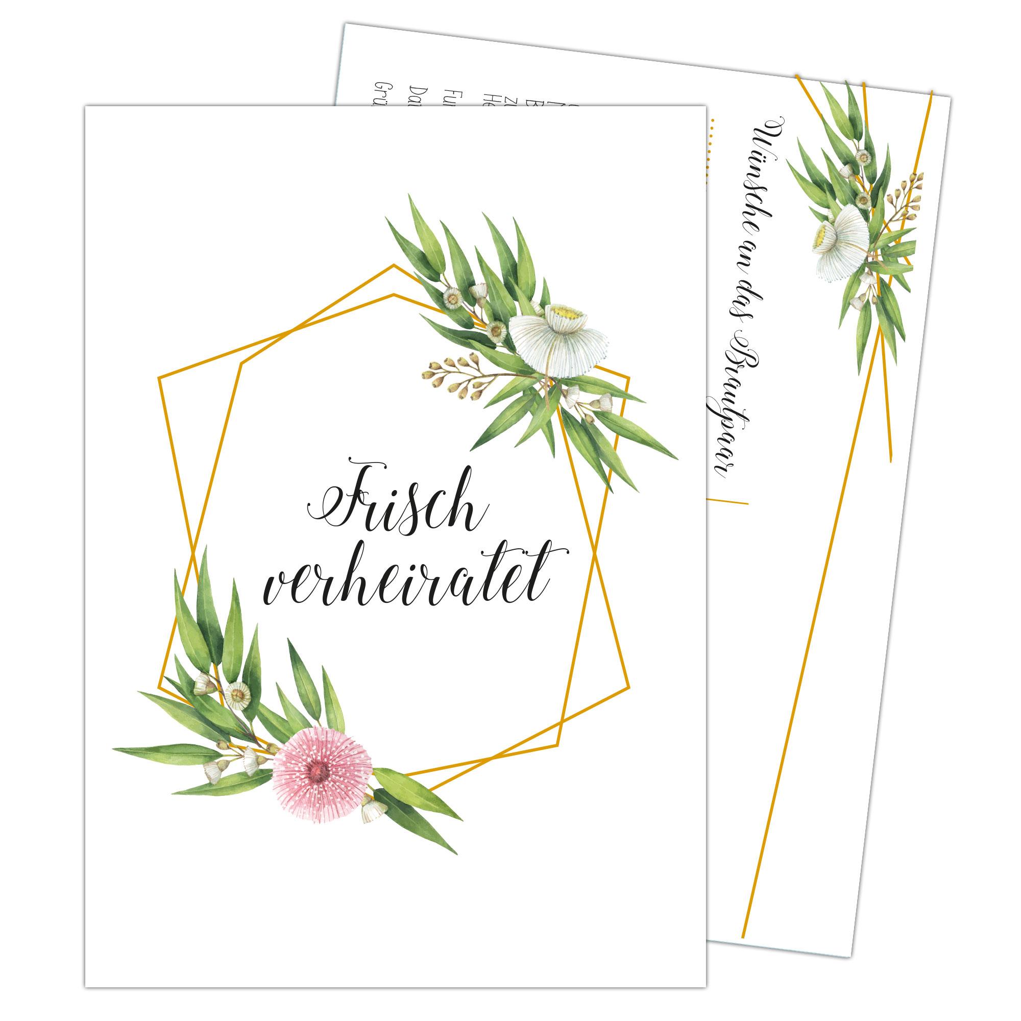 Papierdrachen 100 Ballonflugkarten zur Hochzeit Frisch verheiratet gold