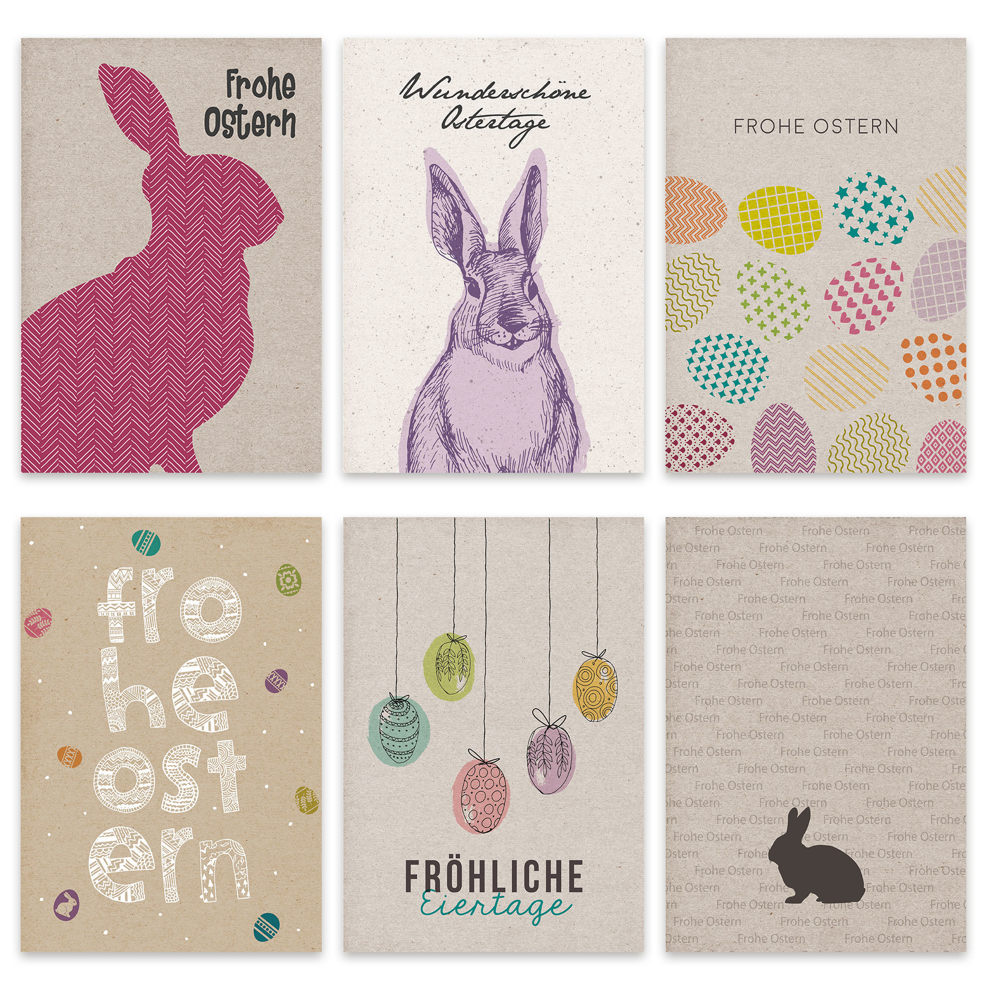 Papierdrachen Postkarten Set zu Ostern Nr 9