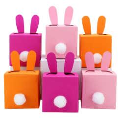 Osterhasen Boxen zum selber Befüllen in rosa von hinten