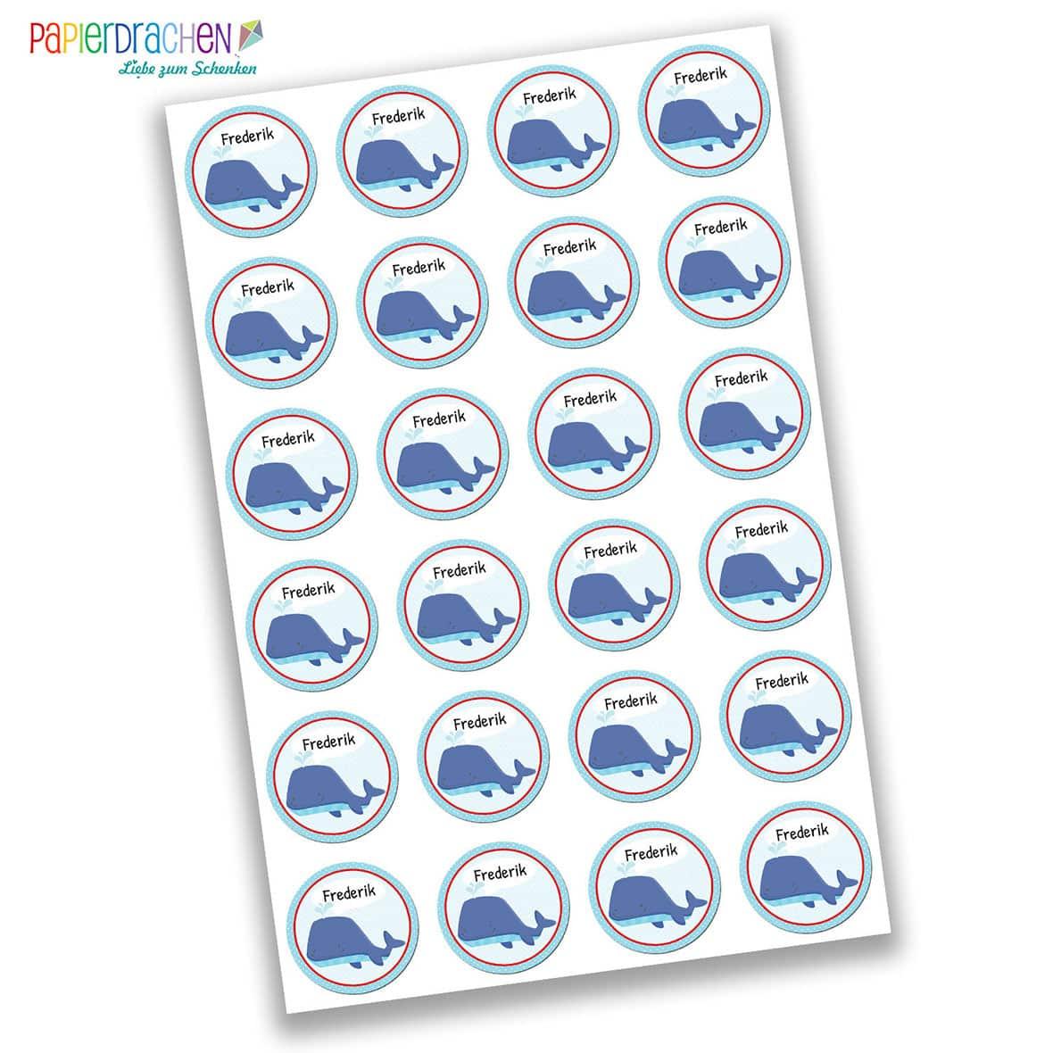 24 individuelle sticker schule mit wal motiv f r kinder papierdrachen. Black Bedroom Furniture Sets. Home Design Ideas