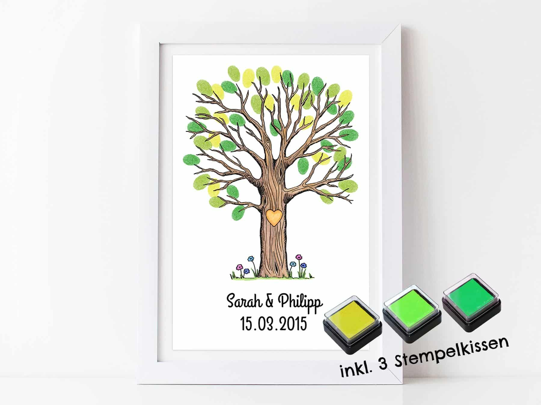 Wunderbar Bild Fingerabdruck Referenz Von Gästebuch Baum Für Deine Hochzeit – Personalisierter