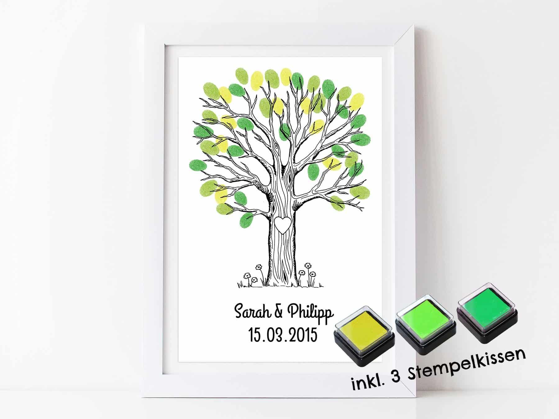 Fingerabdruck Gastebuch Baum Fur Deine Hochzeit Personalisierter
