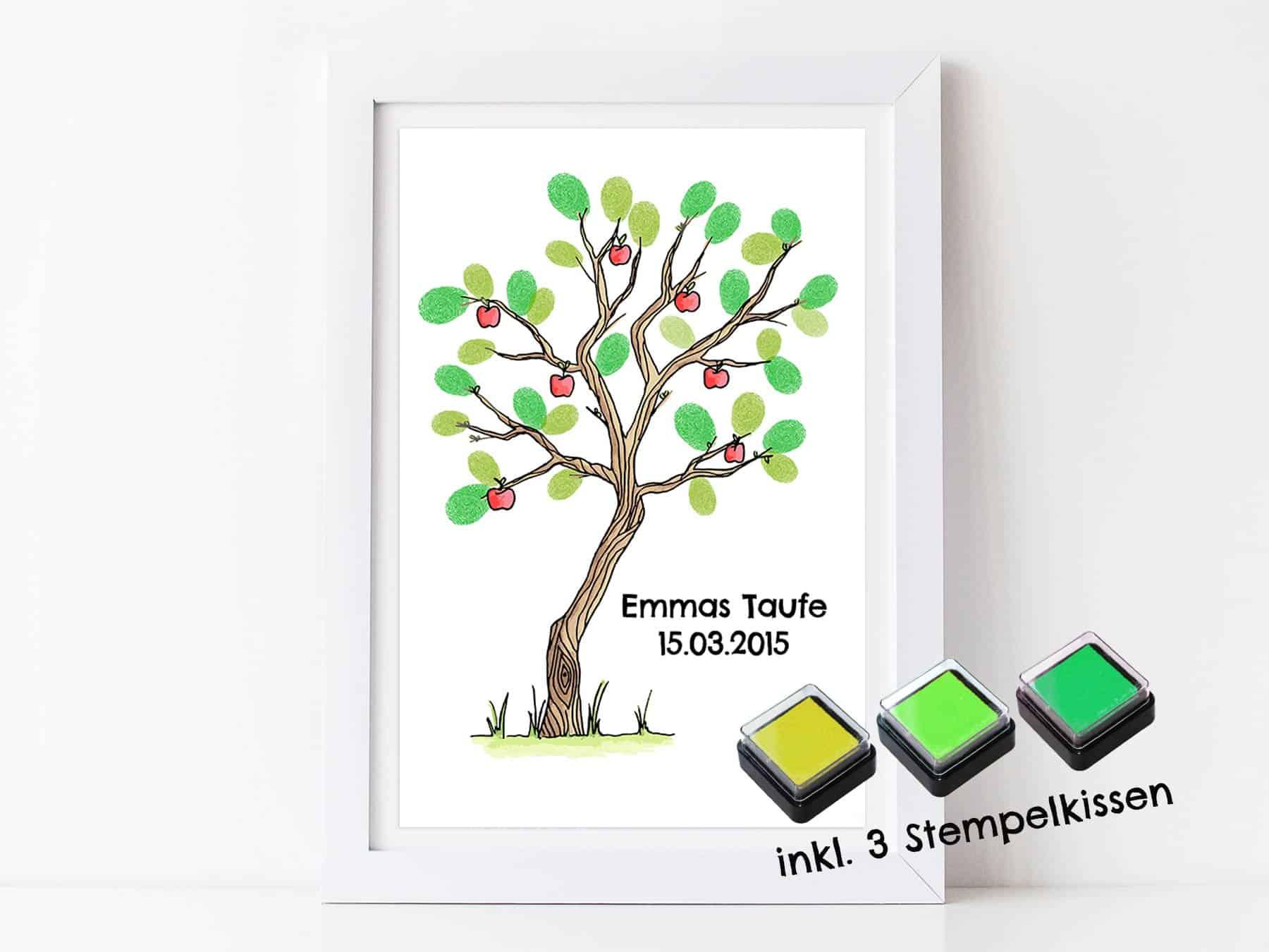 Fingerabdruck Gästebuch Baum Für Deine Taufe Und Kommunion Personalisierter Baum Mit Stempelkissen Individuell Gästebaum Motiv Apfelbaum Bunt