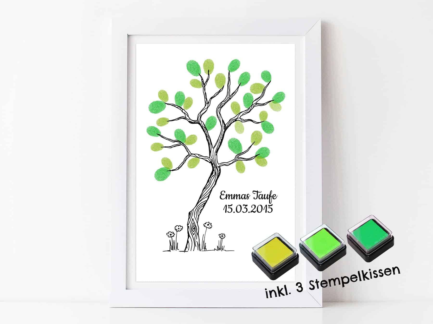 Fingerabdruck Gästebuch Baum Für Deine Taufe Und Kommunion