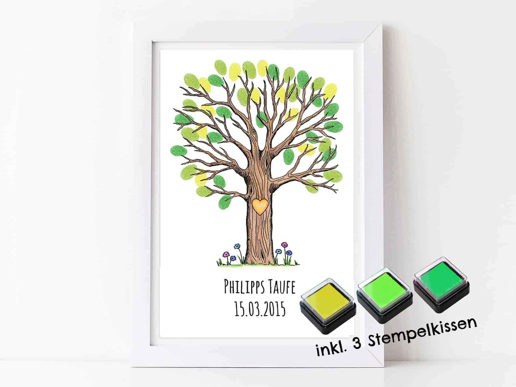 Fingerabdruck Gästebuch Baum Für Deine Taufe Und Kommunion Personalisierter Baum Mit Stempelkissen Individuell Gästebaum Motiv Baum Groß Bunt