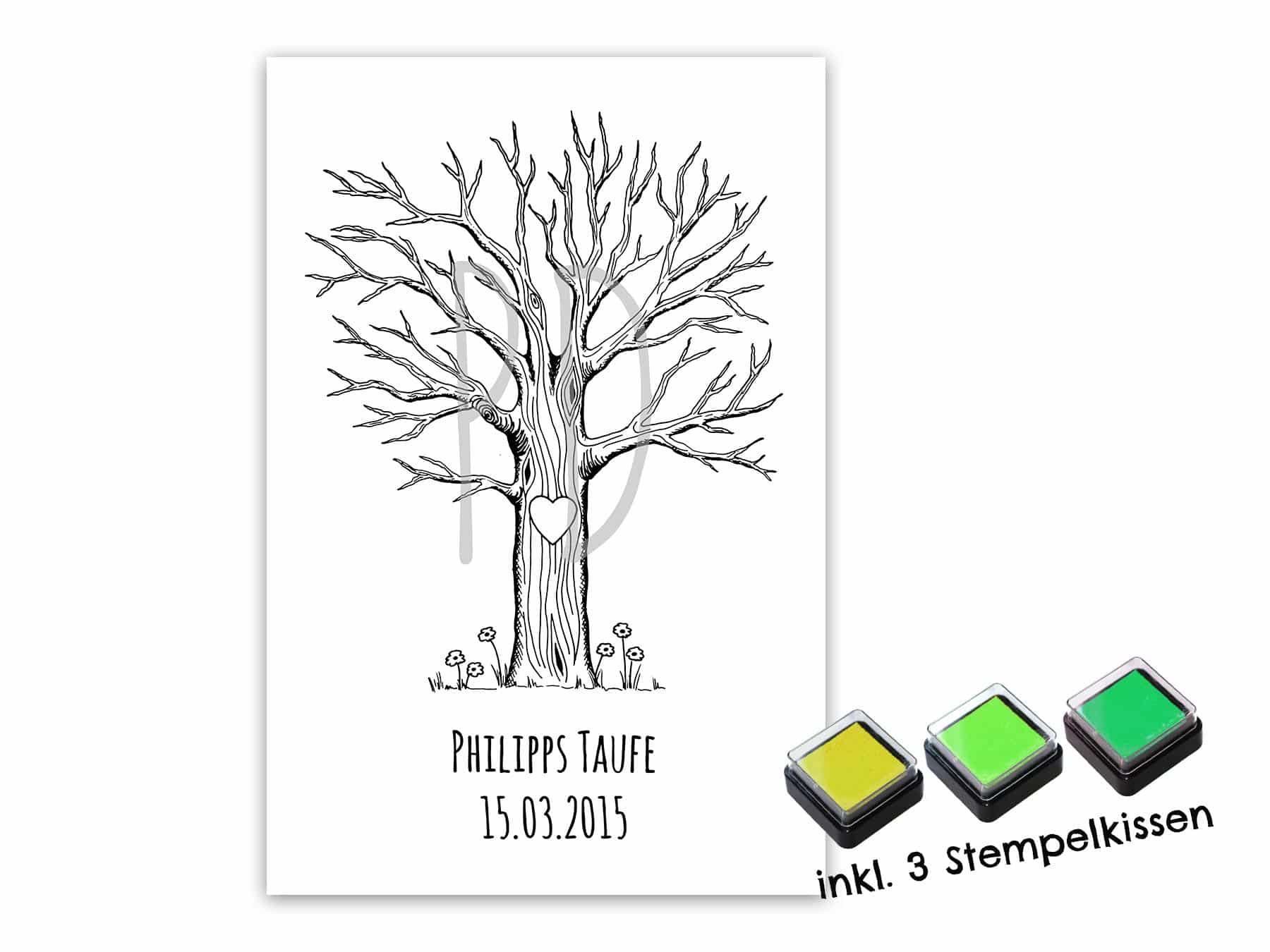 Fingerabdruck Gästebuch Baum Für Deine Taufe Und Kommunion Personalisierter Baum Mit Stempelkissen Individuell Gästebaum Motiv Baum Groß