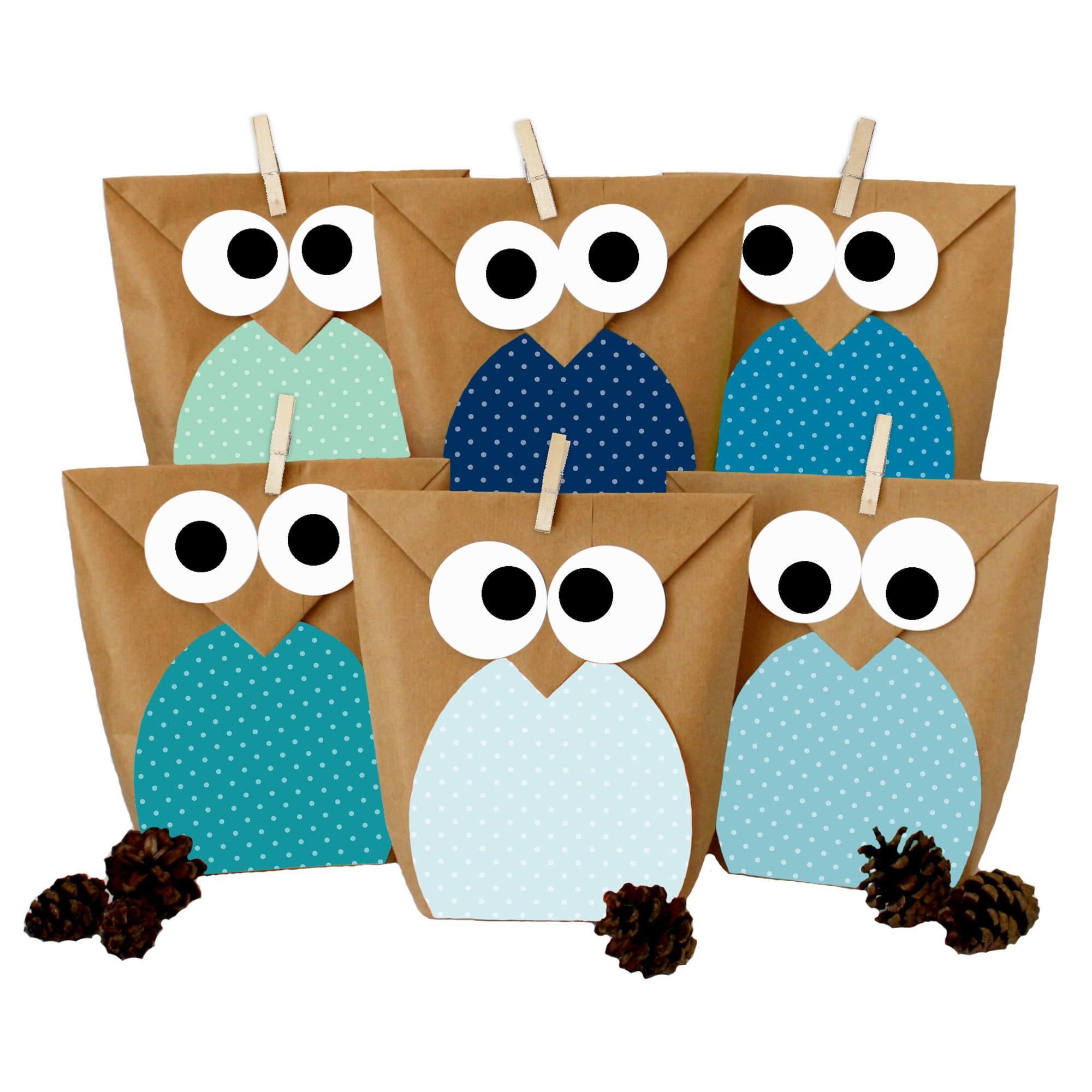 diy geschenkt ten set eulen blau mitgebsel f r kindergeburtstag zum selber basteln und. Black Bedroom Furniture Sets. Home Design Ideas