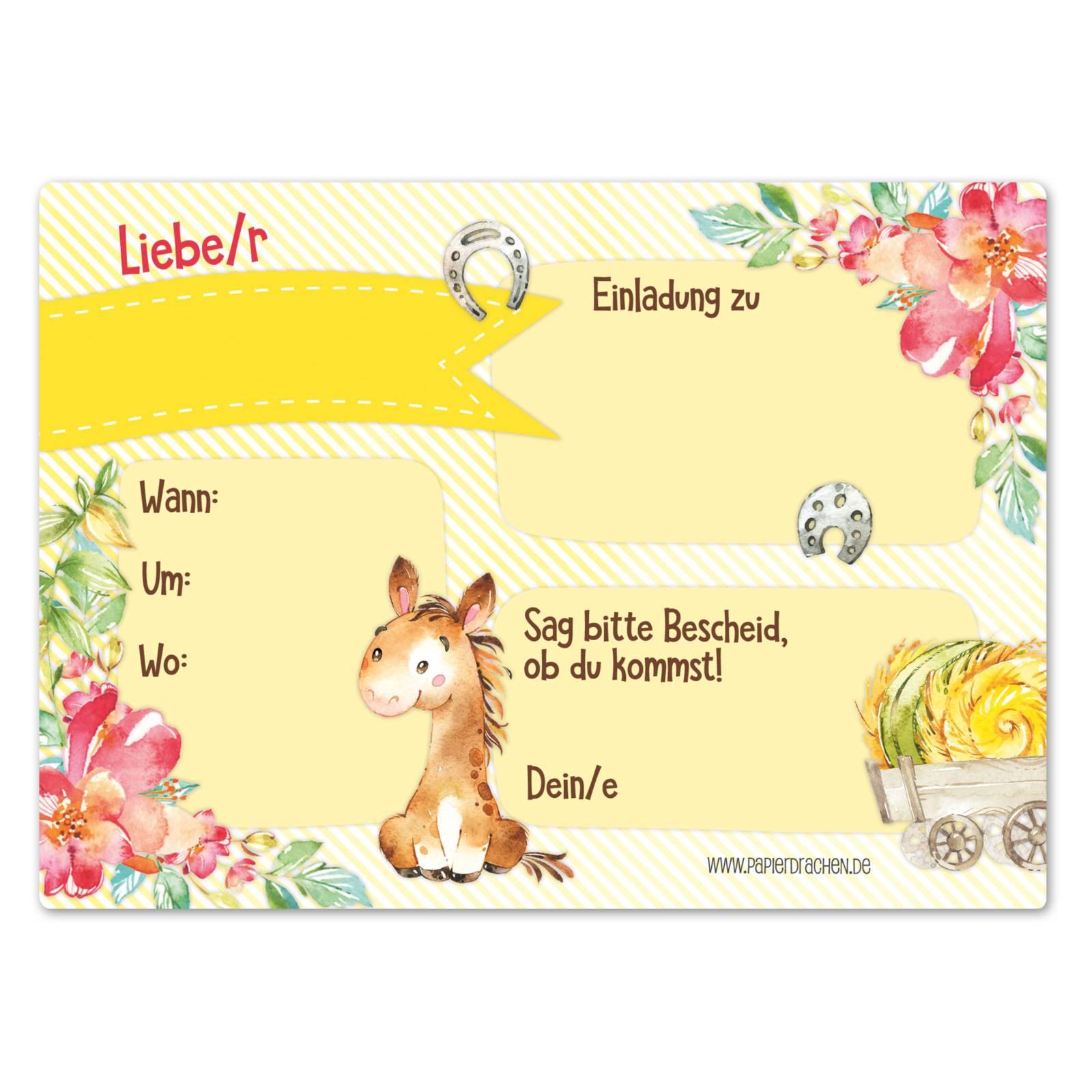 12 einladungskarten zum geburtstag für mädchen - pferde