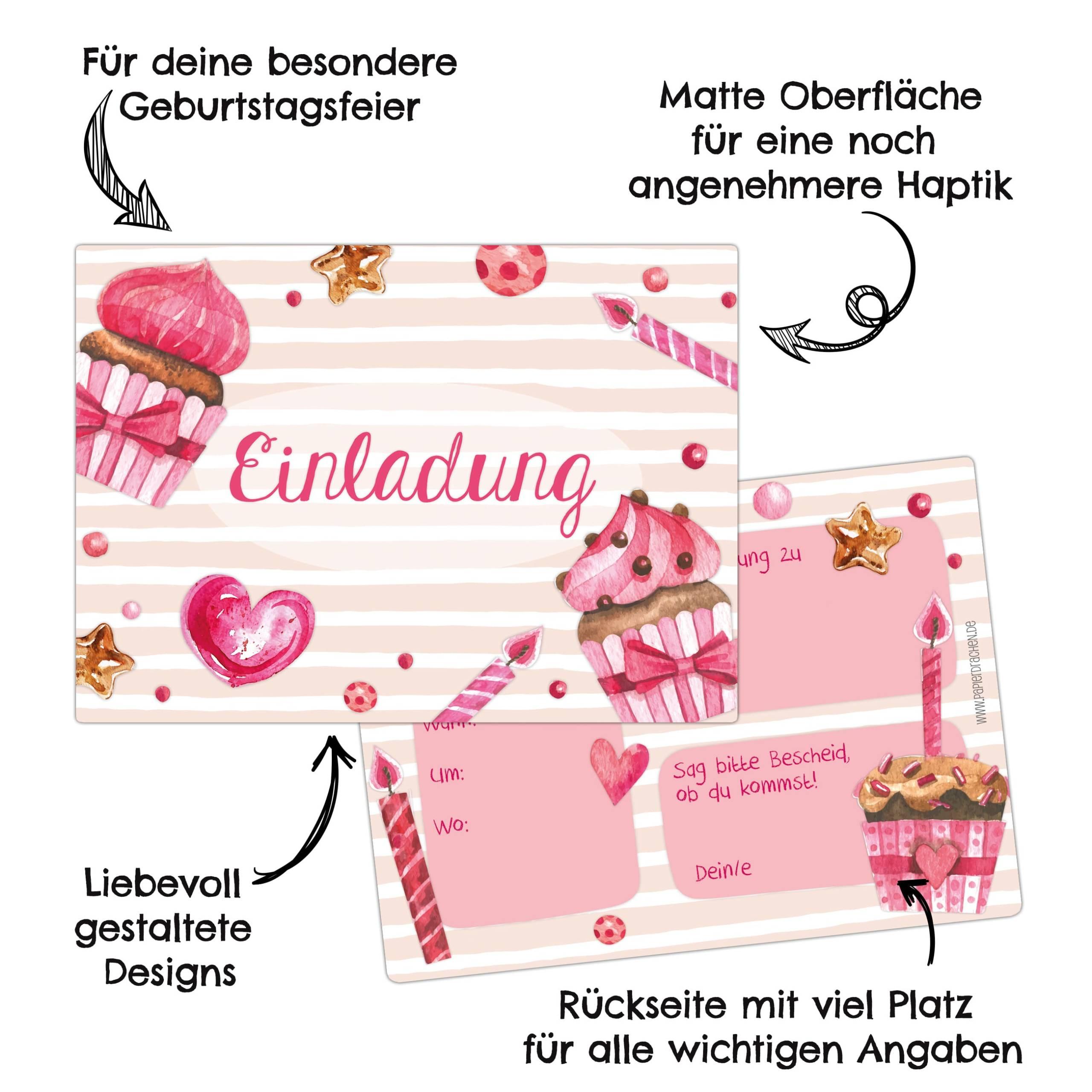 12 einladungskarten zum geburtstag für mädchen - rosa