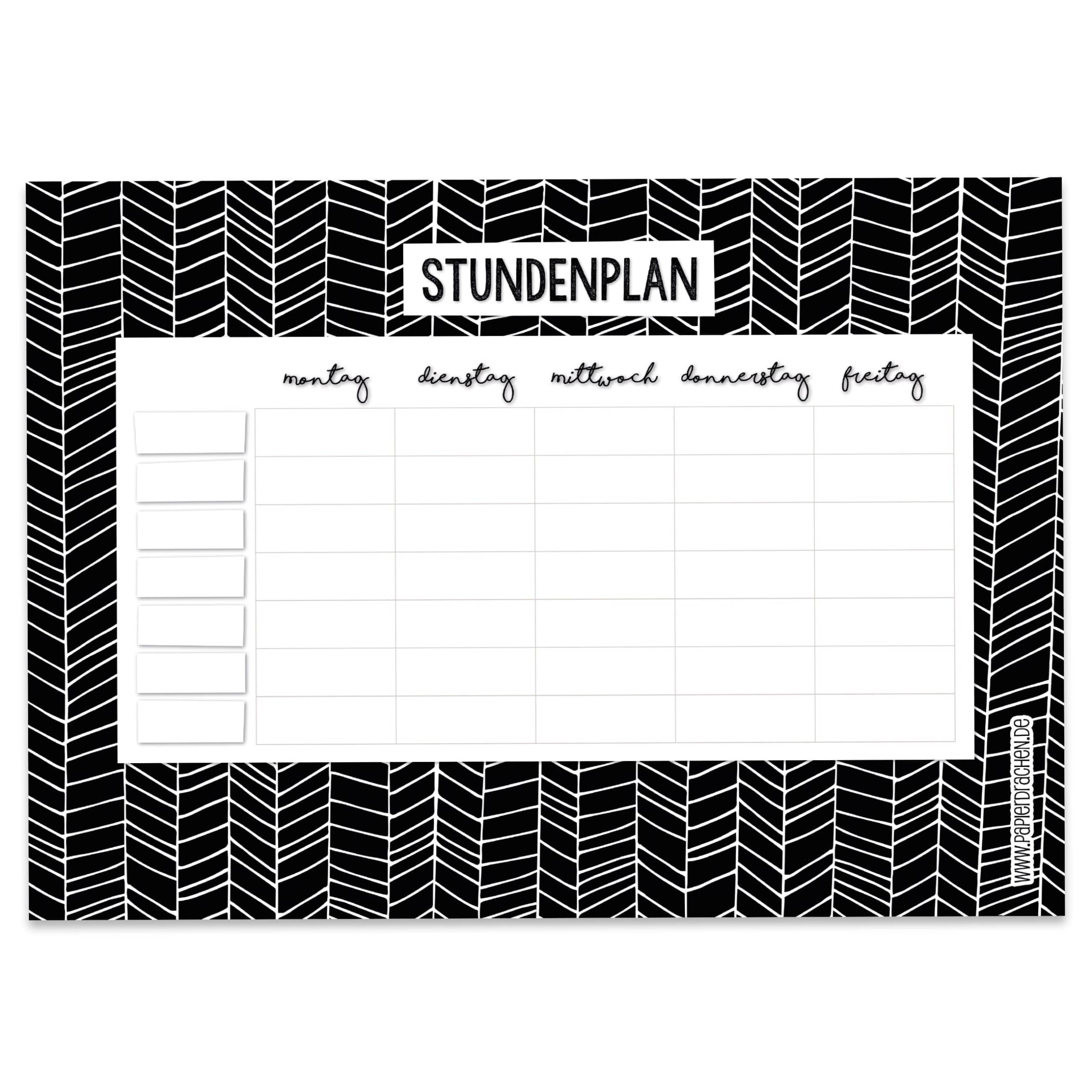 stundenplan block din a4 - schwarz-weiß - papierdrachen