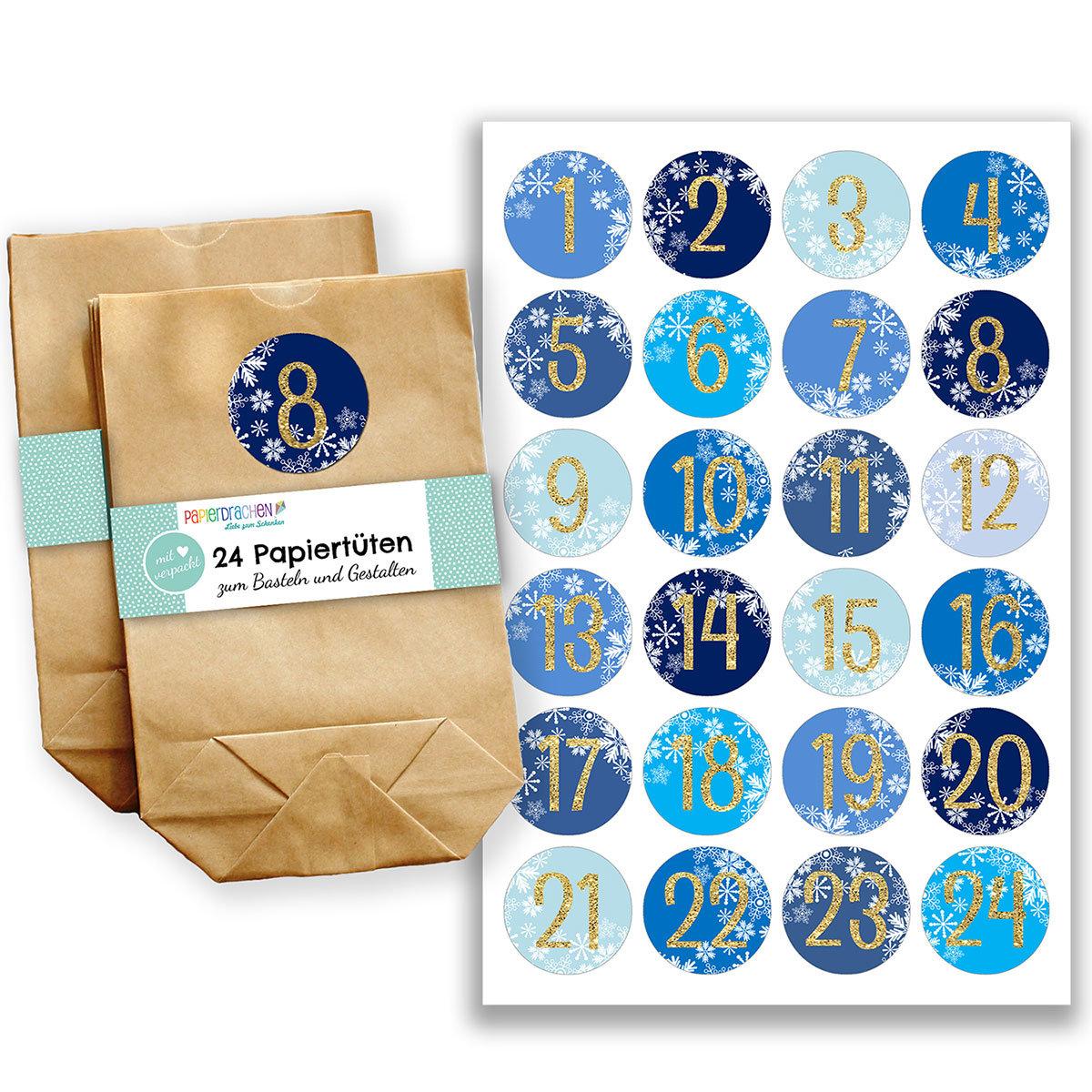 adventskalender set 24 braune papiert ten mit 24 blau goldenen aufkleber zahlen zum. Black Bedroom Furniture Sets. Home Design Ideas