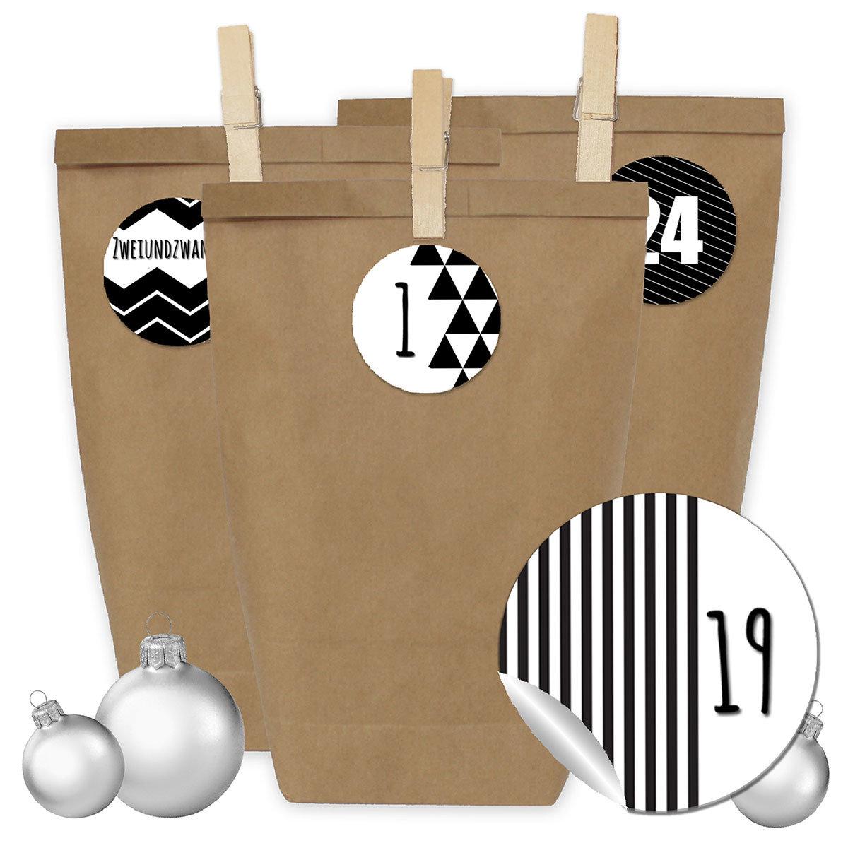 24 adventskalender geschenkt ten mit 24 zahlenaufklebern und klammern zum selber basteln diy. Black Bedroom Furniture Sets. Home Design Ideas