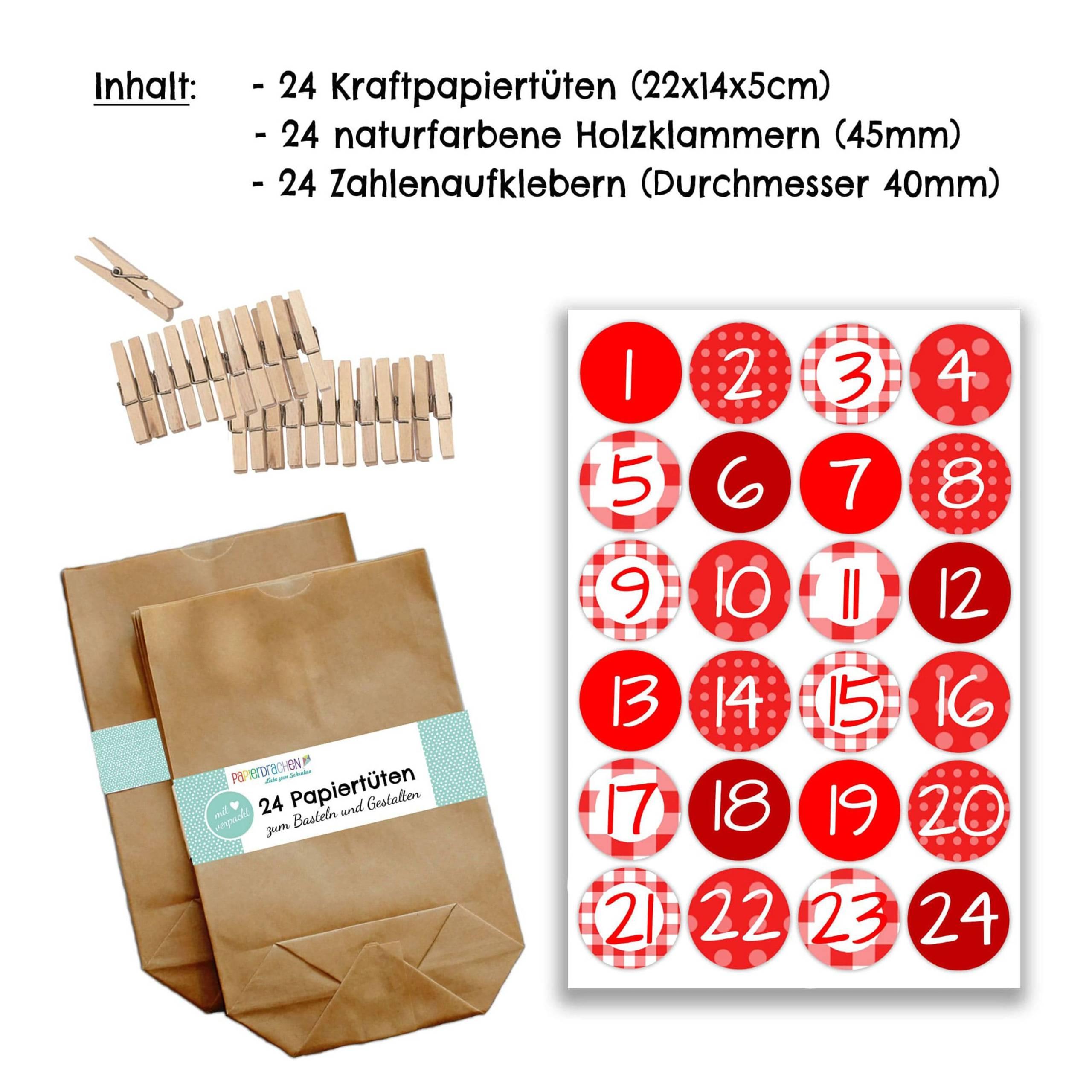 Adventskalender Set 20 Geschenktüten Klammern Sticker