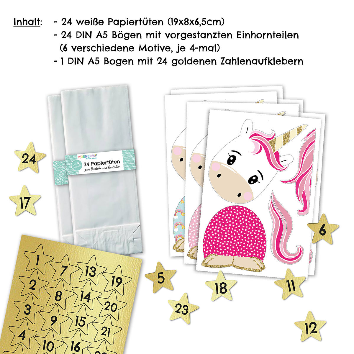 adventskalender einhorn vorgestanzter motivkalender papierdrachen. Black Bedroom Furniture Sets. Home Design Ideas