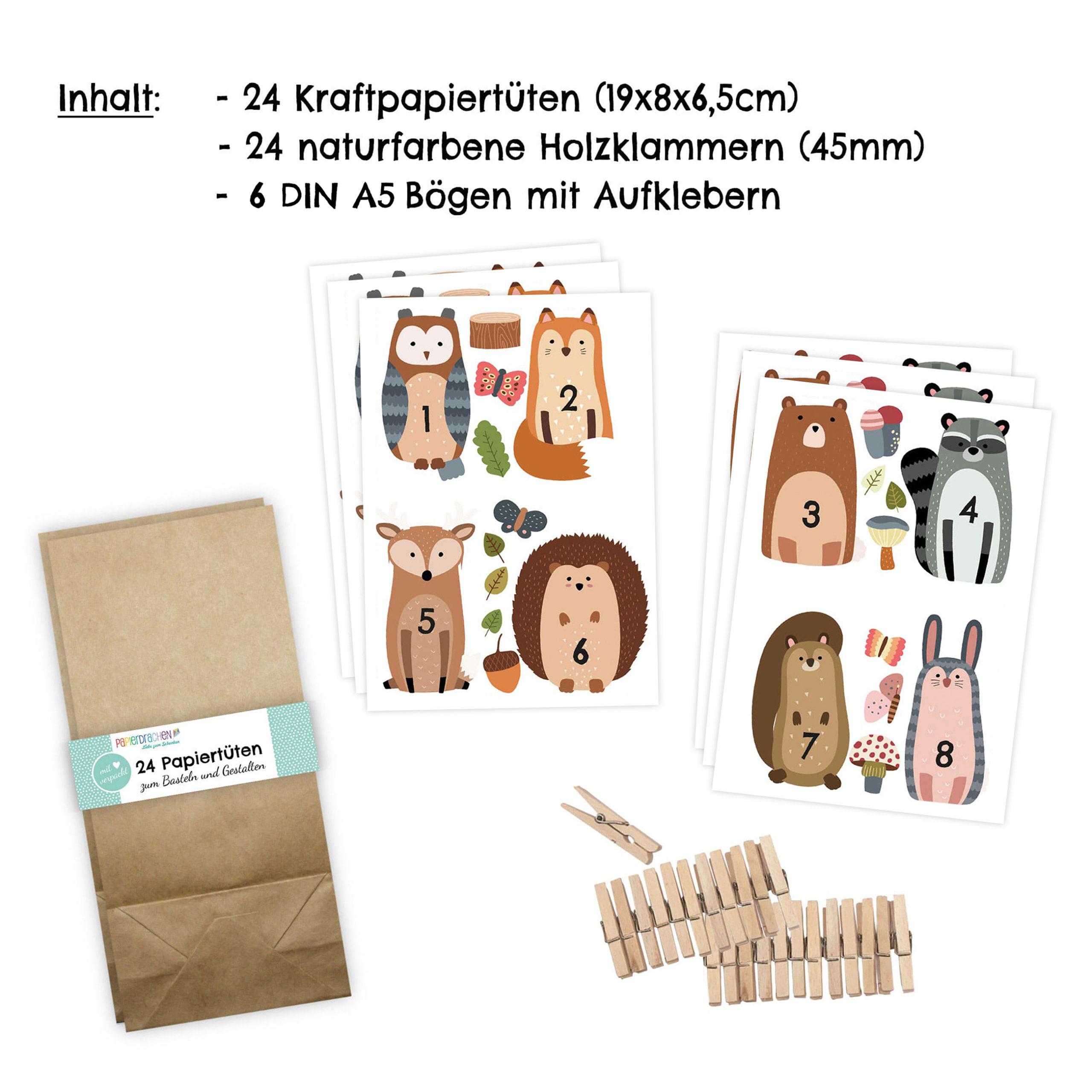 Verschiedene Tiere Papierdrachen DIY Adventskalender Set Waldtiere 2018 mit braunen Tüten und Klammern Direkt zum Aufkleben und selber Befüllen
