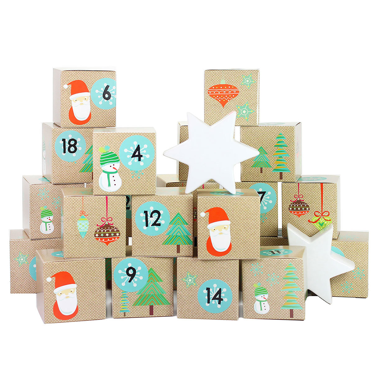 diy adventskalender kisten set motiv weihnachtsmann 24 bunte schachteln zum aufstellen und. Black Bedroom Furniture Sets. Home Design Ideas