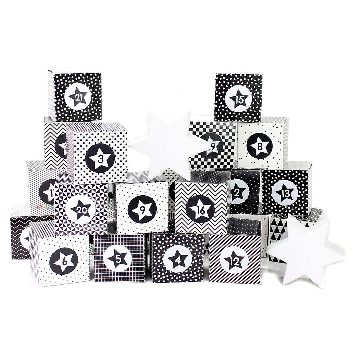 diy adventskalender kisten set motiv schwarz wei 24 schwarz wei e schachteln zum aufstellen. Black Bedroom Furniture Sets. Home Design Ideas