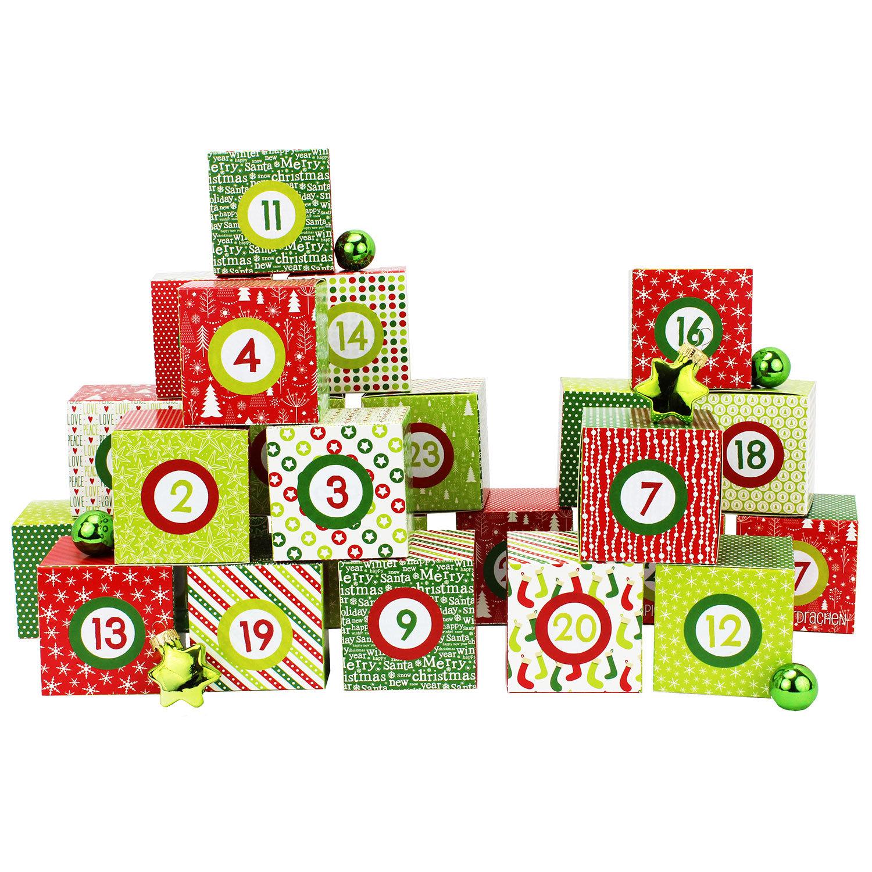 diy adventskalender kisten set motiv rot gr n 24 bunte schachteln zum aufstellen und zum. Black Bedroom Furniture Sets. Home Design Ideas