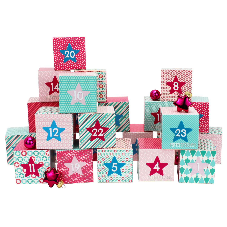 diy adventskalender kisten set motiv rosa 24 bunte schachteln zum aufstellen und zum. Black Bedroom Furniture Sets. Home Design Ideas