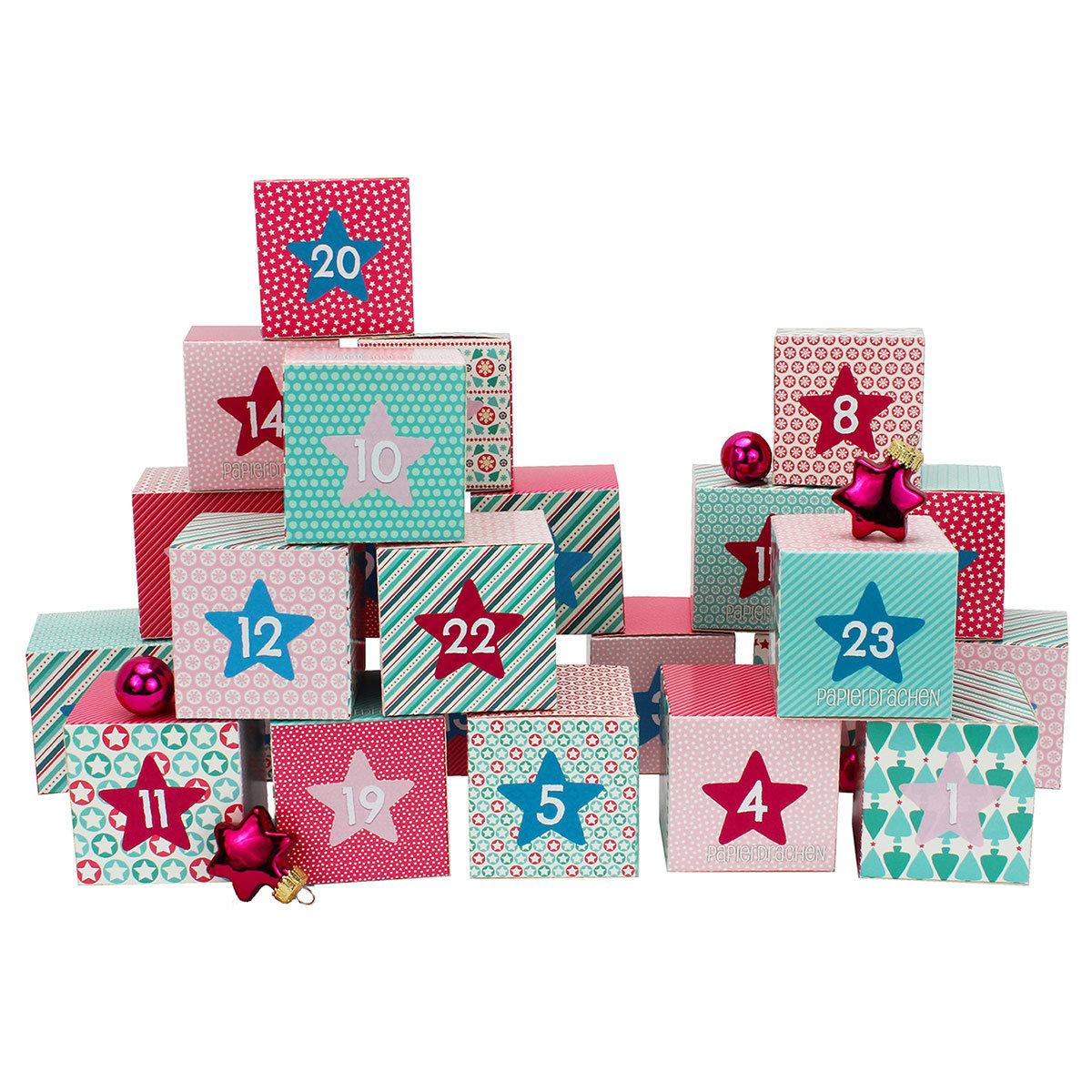 diy adventskalender kisten set motiv rosa 24 bunte schachteln zum aufstel ebay. Black Bedroom Furniture Sets. Home Design Ideas