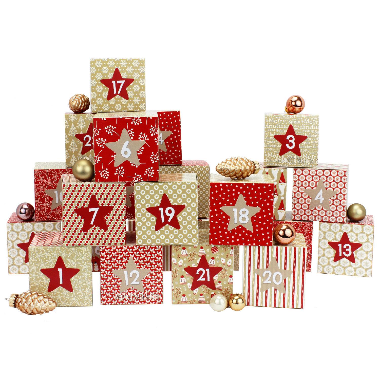 diy adventskalender kisten set motiv rot beige 24 bunte schachteln zum aufstellen und zum. Black Bedroom Furniture Sets. Home Design Ideas