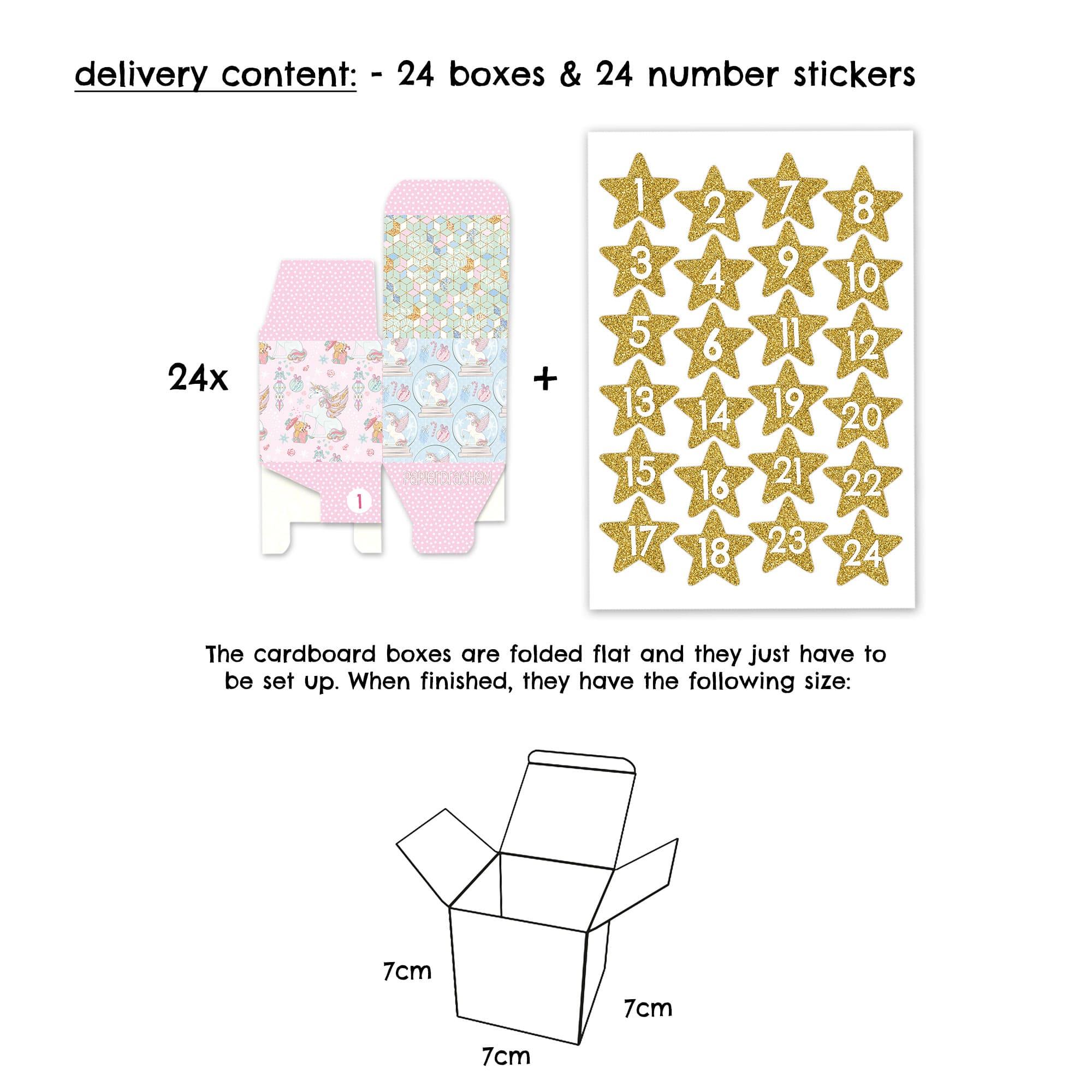 adventskalender schachteln motiv einh rner in rosa papierdrachen. Black Bedroom Furniture Sets. Home Design Ideas