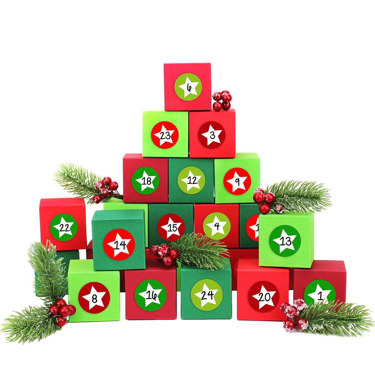 24 adventskalender kisten mit zahlenaufklebern zum selber bef llen 24 bunte schachteln zum. Black Bedroom Furniture Sets. Home Design Ideas