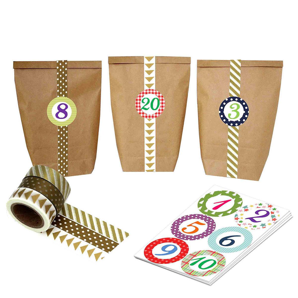 diy adventskalender mit washi tape zum selber basteln und bef llen bunte zahlen mit 24. Black Bedroom Furniture Sets. Home Design Ideas