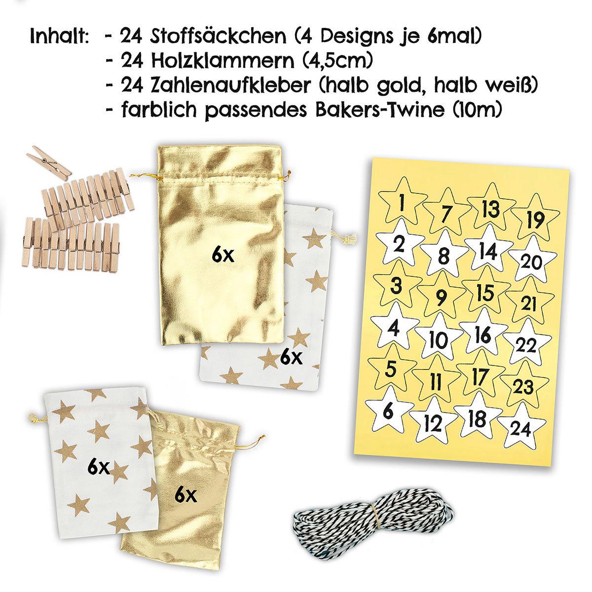 24 adventskalender stoffs ckchen zum aufh ngen mit wei en sternchen papierdrachen. Black Bedroom Furniture Sets. Home Design Ideas