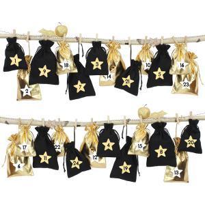 24 adventskalender stoffs ckchen zum aufh ngen schwarz gold papierdrachen. Black Bedroom Furniture Sets. Home Design Ideas