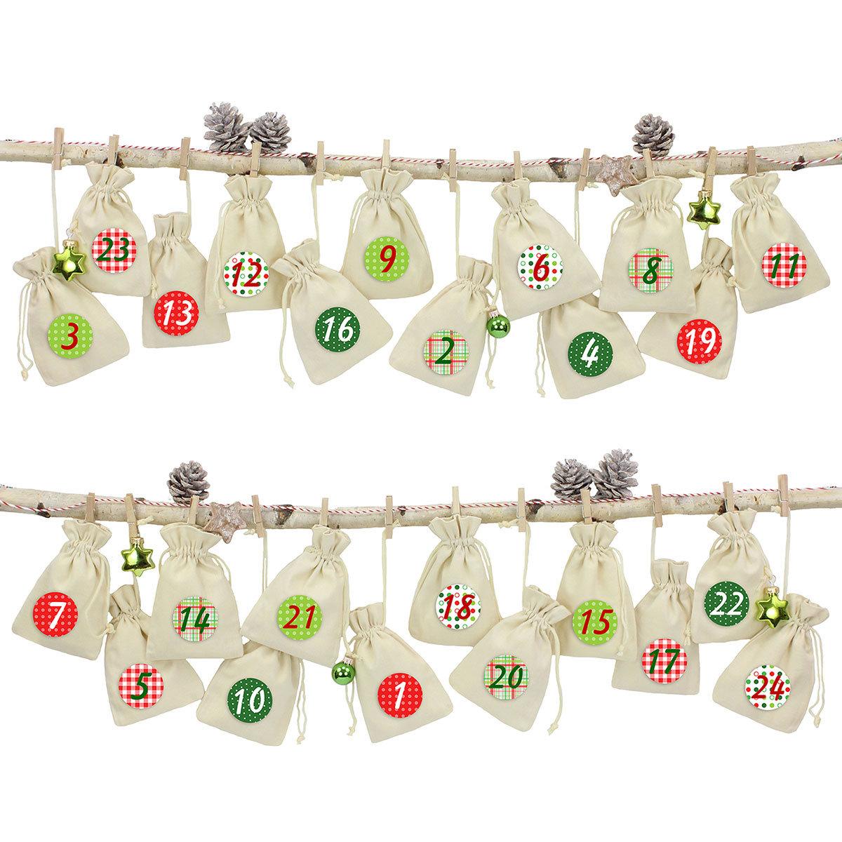 24 adventskalender stoffs ckchen zum aufh ngen leinen rot papierdrachen. Black Bedroom Furniture Sets. Home Design Ideas