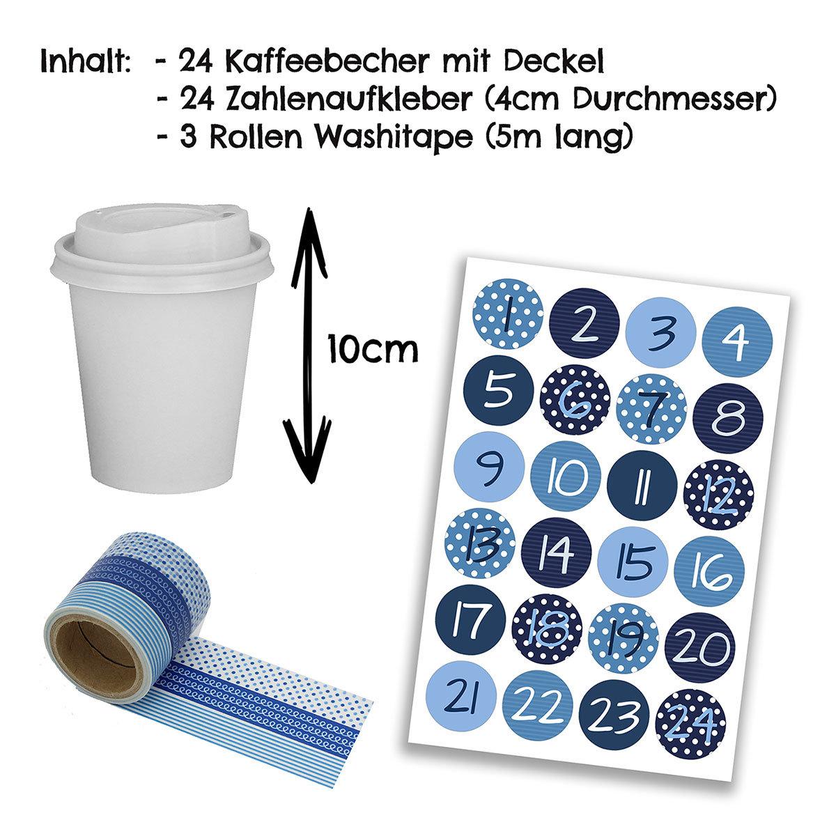 diy adventskalender kaffee becher zum selber basteln und bef llen mit blauem washi tape 24. Black Bedroom Furniture Sets. Home Design Ideas