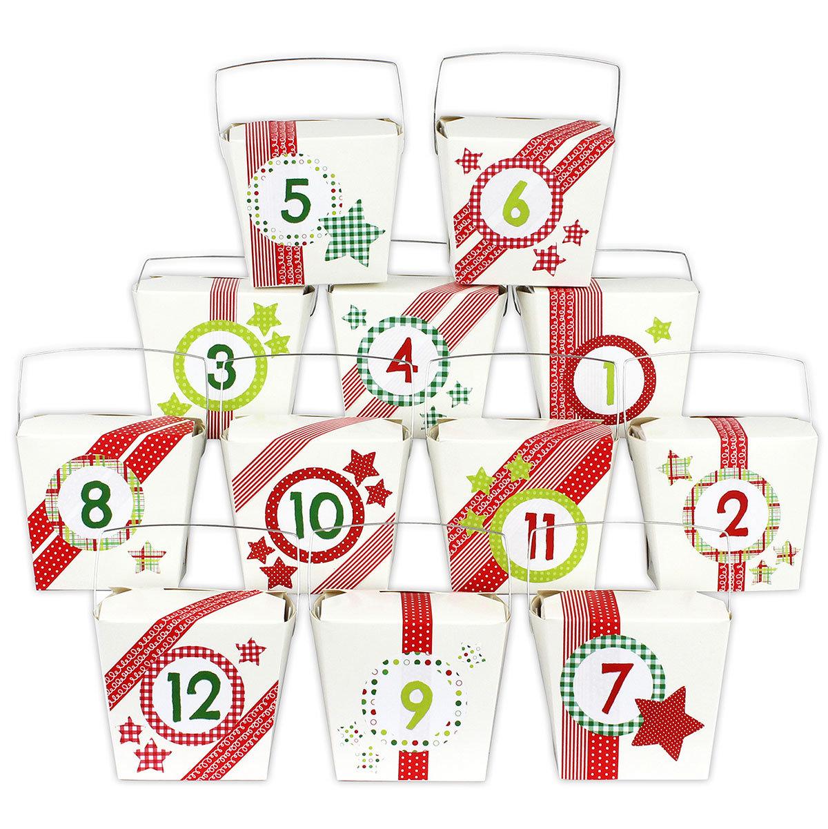 diy adventskalender set 24 asia boxen mit rotem washi tape und 24 aufklebern zum selber. Black Bedroom Furniture Sets. Home Design Ideas