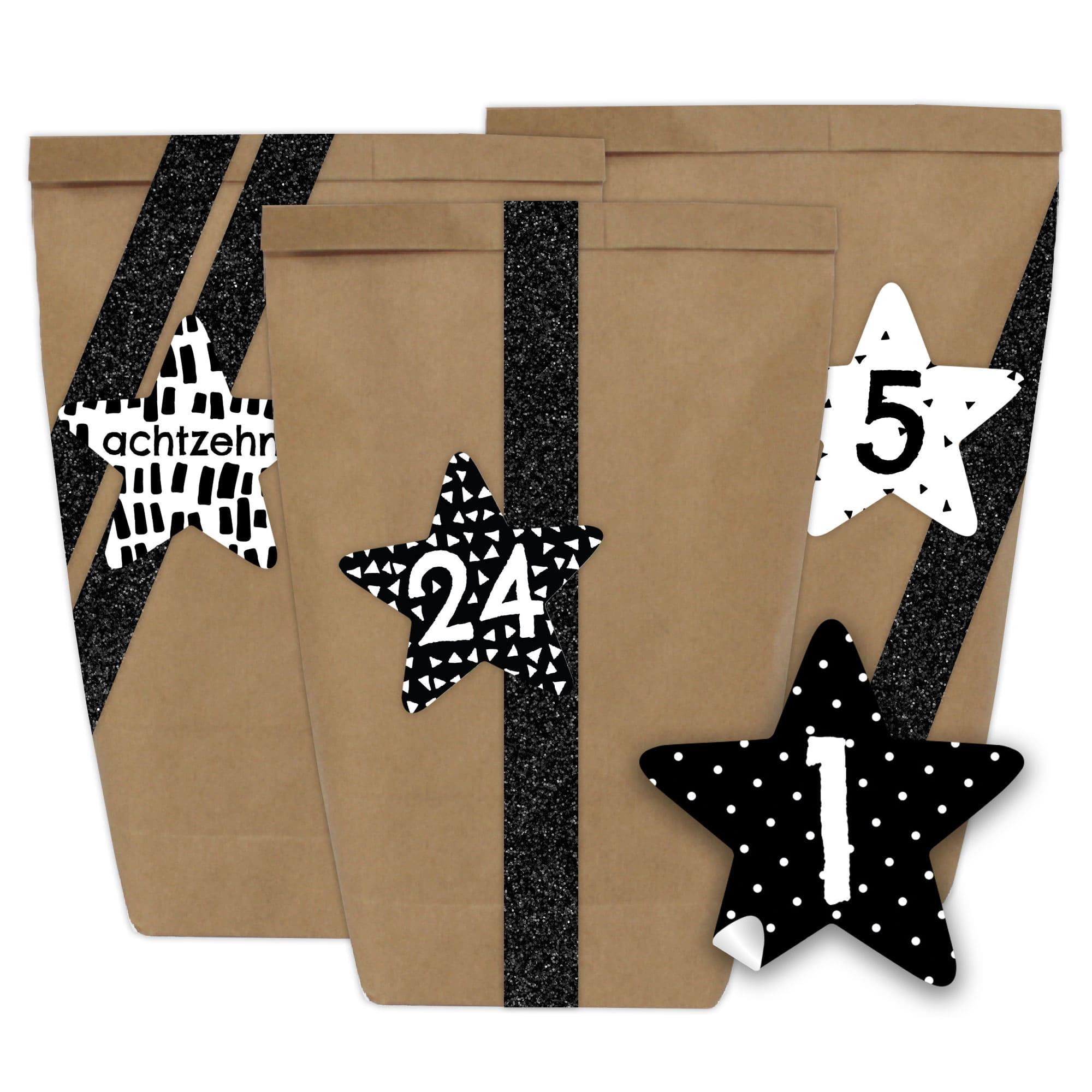 diy adventskalender 24 papiert ten mit aufklebern sternen form schwarz papierdrachen. Black Bedroom Furniture Sets. Home Design Ideas