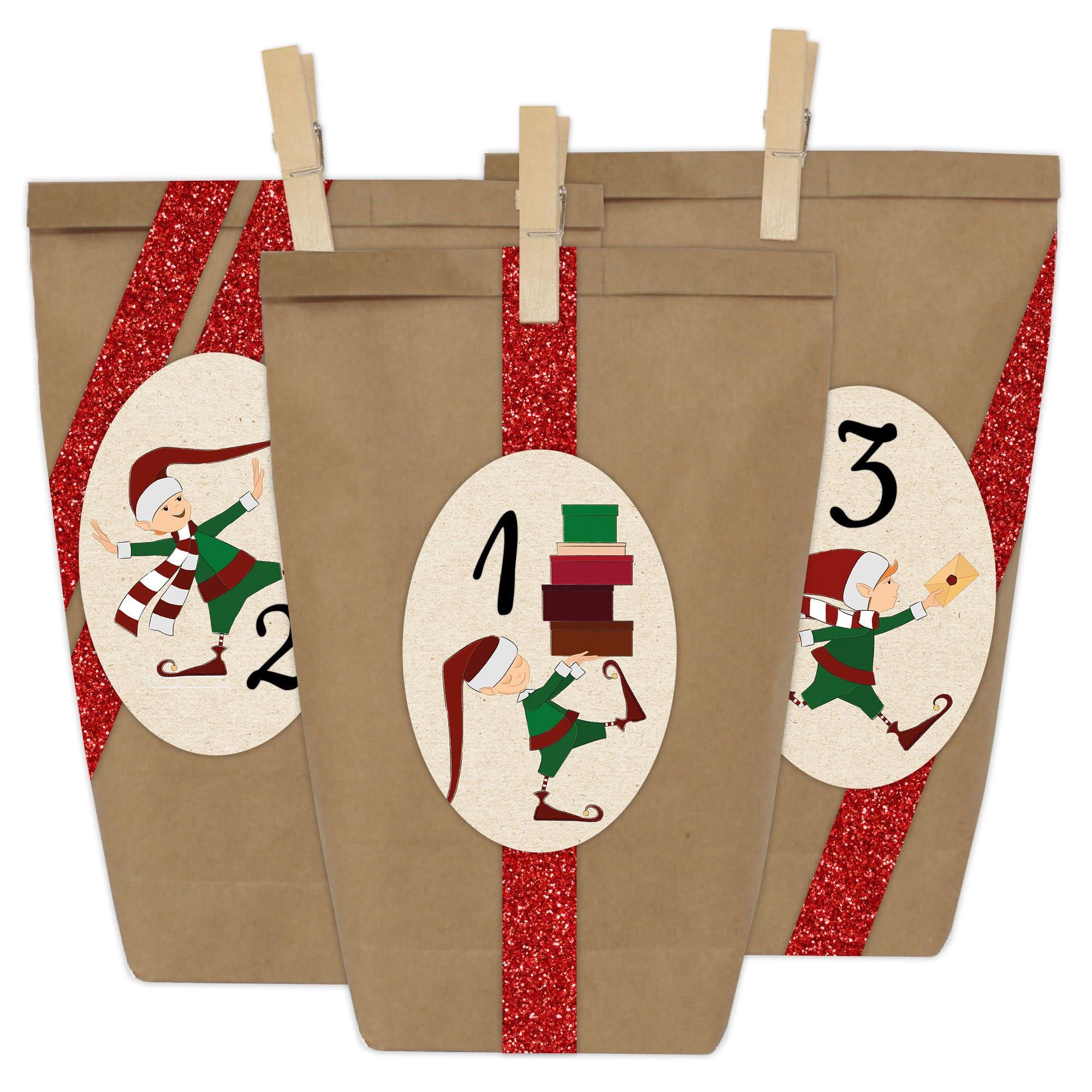 Diy Adventskalender 24 Papiertüten Motiv Weihnachtselfe Oval