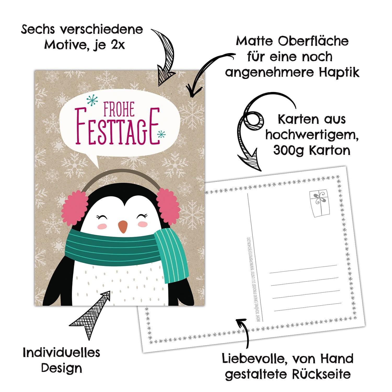 weihnachtskarten set packpapier 12 liebevoll gestaltete postkarten zu weihnachten gru karten. Black Bedroom Furniture Sets. Home Design Ideas