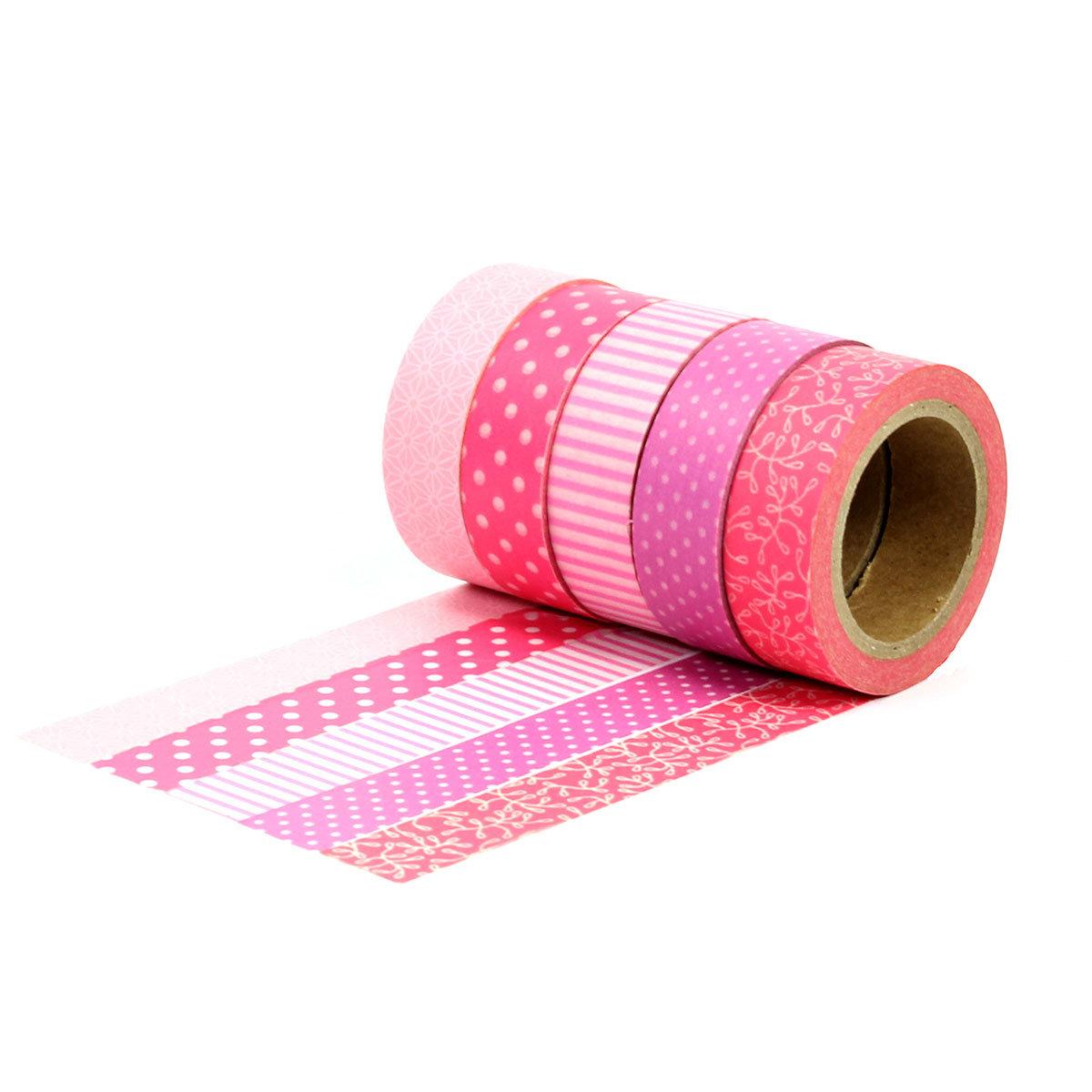 washi tape set 3 mit 5 rollen rot masking tape zum bekleben und verzieren von geschenken. Black Bedroom Furniture Sets. Home Design Ideas