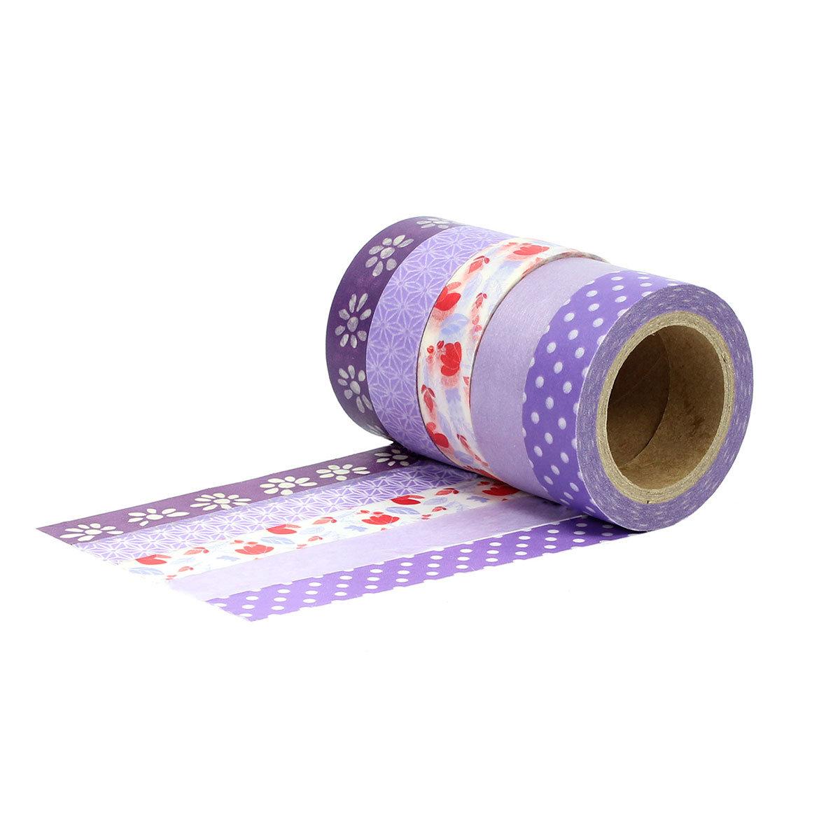 washi tape set 7 mit 5 rollen lila masking tape zum bekleben und verzieren von geschenken. Black Bedroom Furniture Sets. Home Design Ideas
