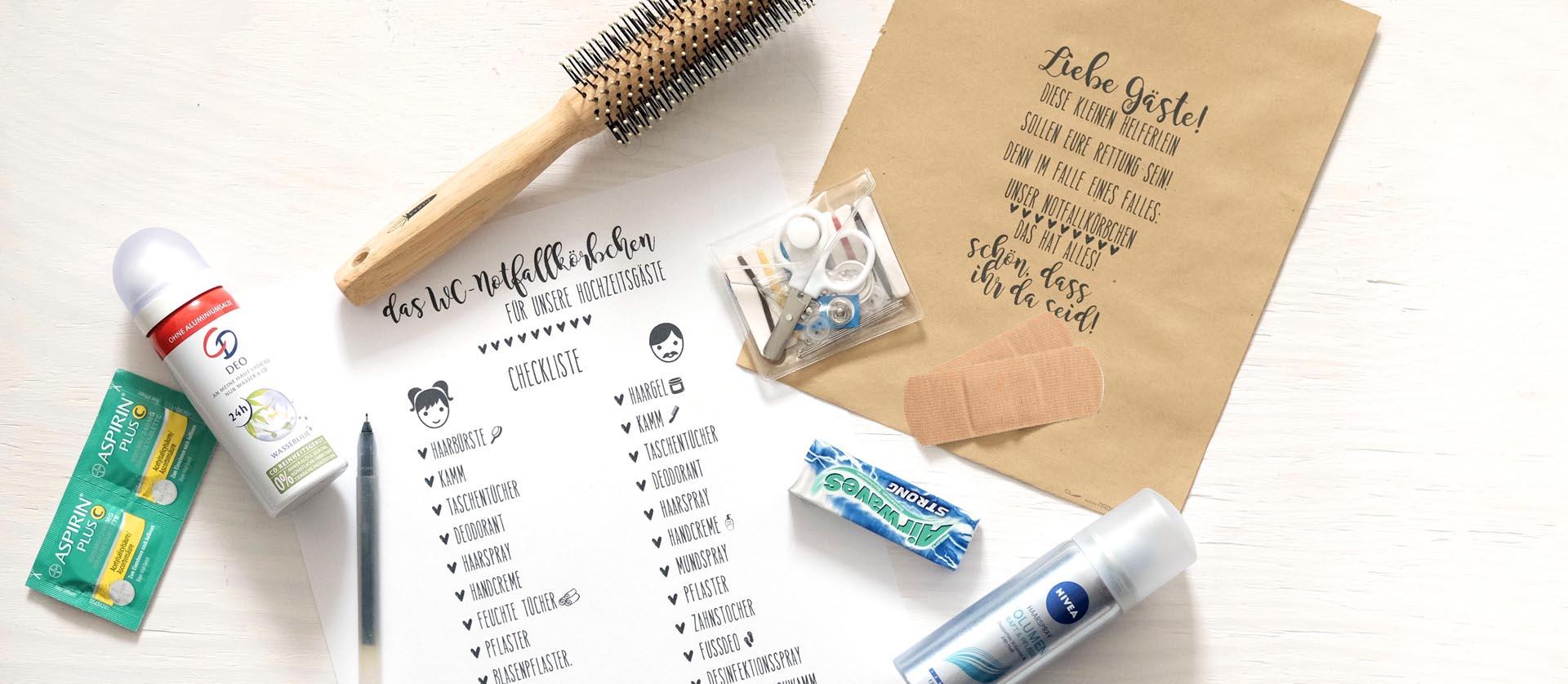Checkliste Das Notfallkorbchen Fur Hochzeitsgaste Papierdrachen