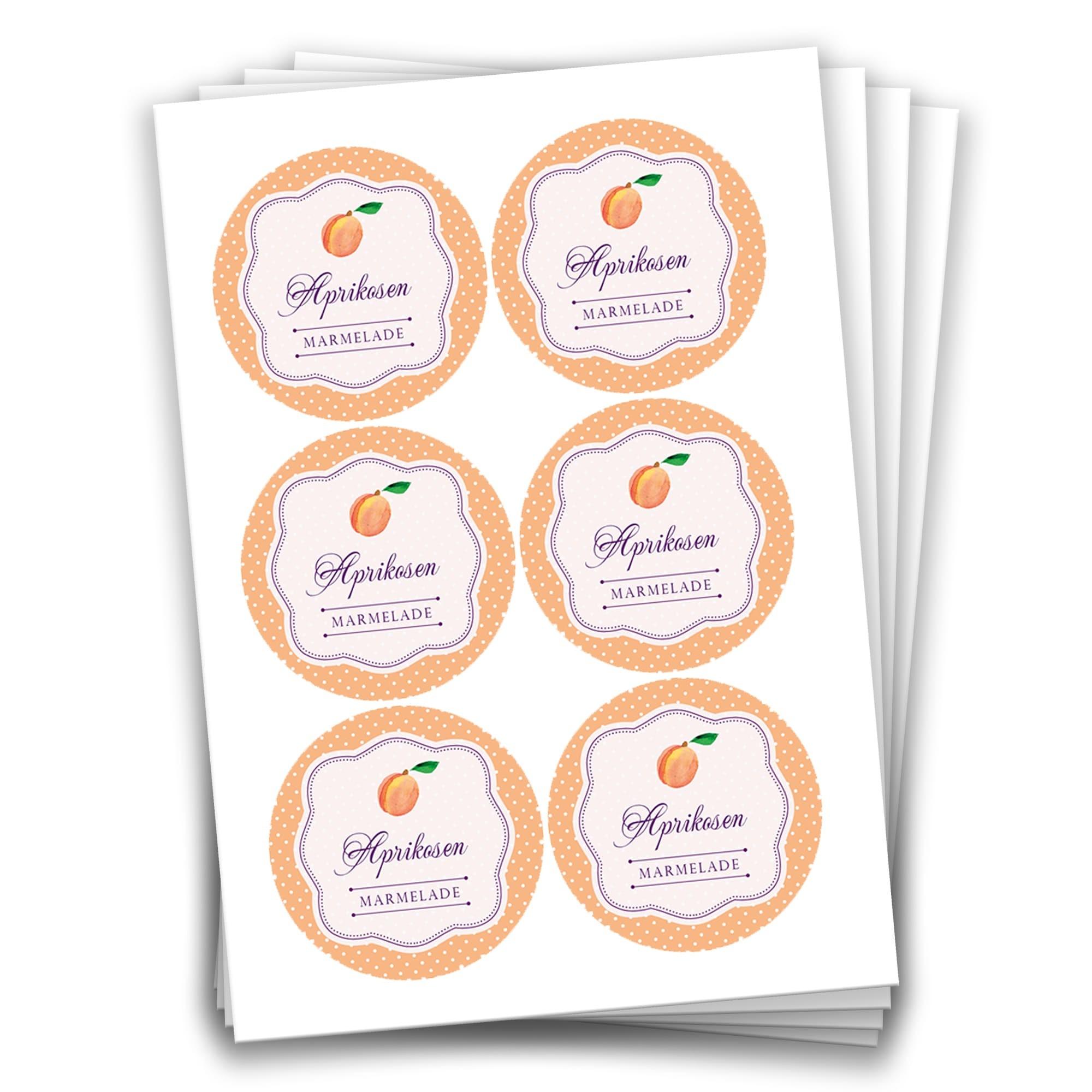 24 Aprikosen Marmeladensticker Design 16 Aufkleber 4 Cm Für Selbstgemachte Marmelade Zum Basteln Und Dekorieren