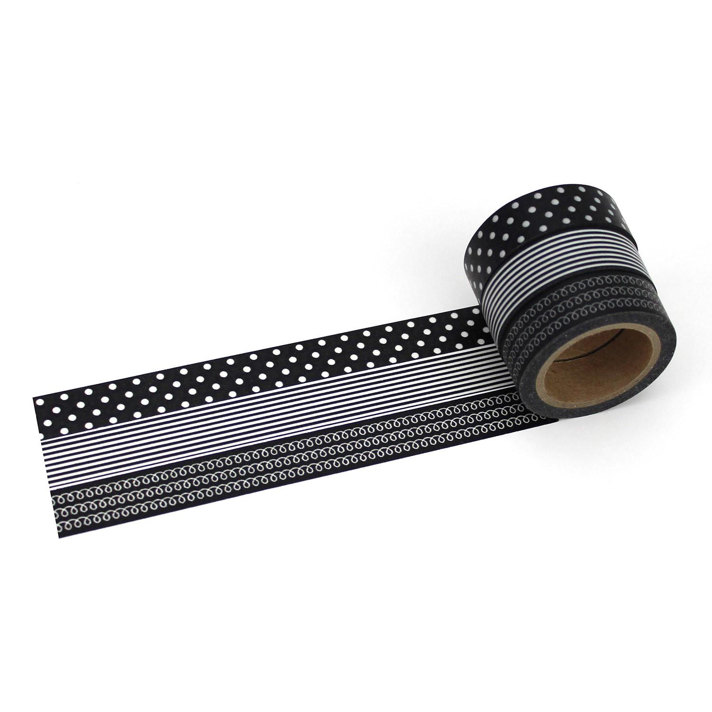 washi tape set schwarz mit 3 rollen masking tape zum bekleben und verzieren von geschenken. Black Bedroom Furniture Sets. Home Design Ideas